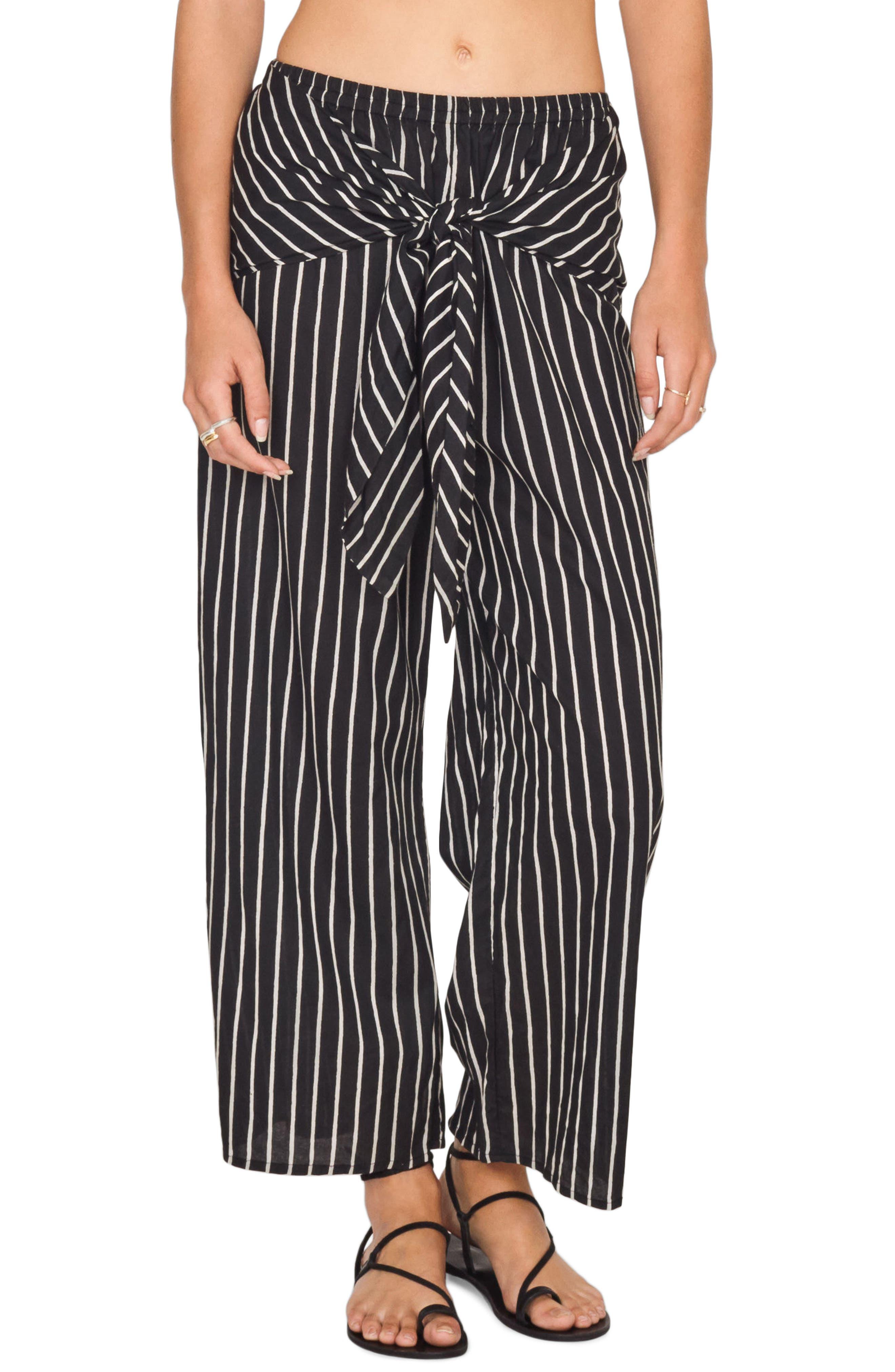 Blurred Lines Knot Front Pants,                             Main thumbnail 1, color,                             Black Sands