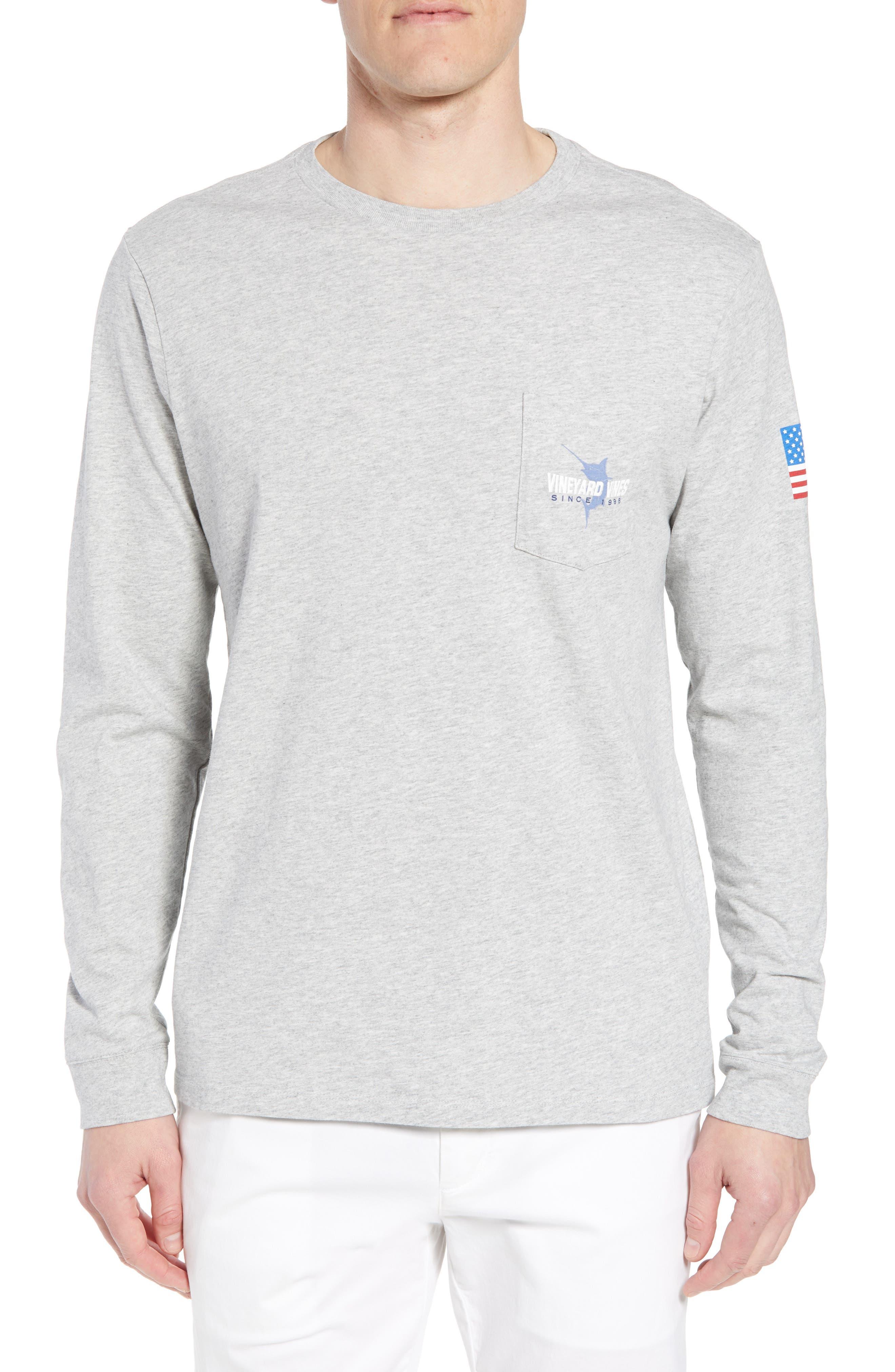 Marlin 98 Long Sleeve Pocket T-Shirt,                             Main thumbnail 1, color,                             Gray Heather
