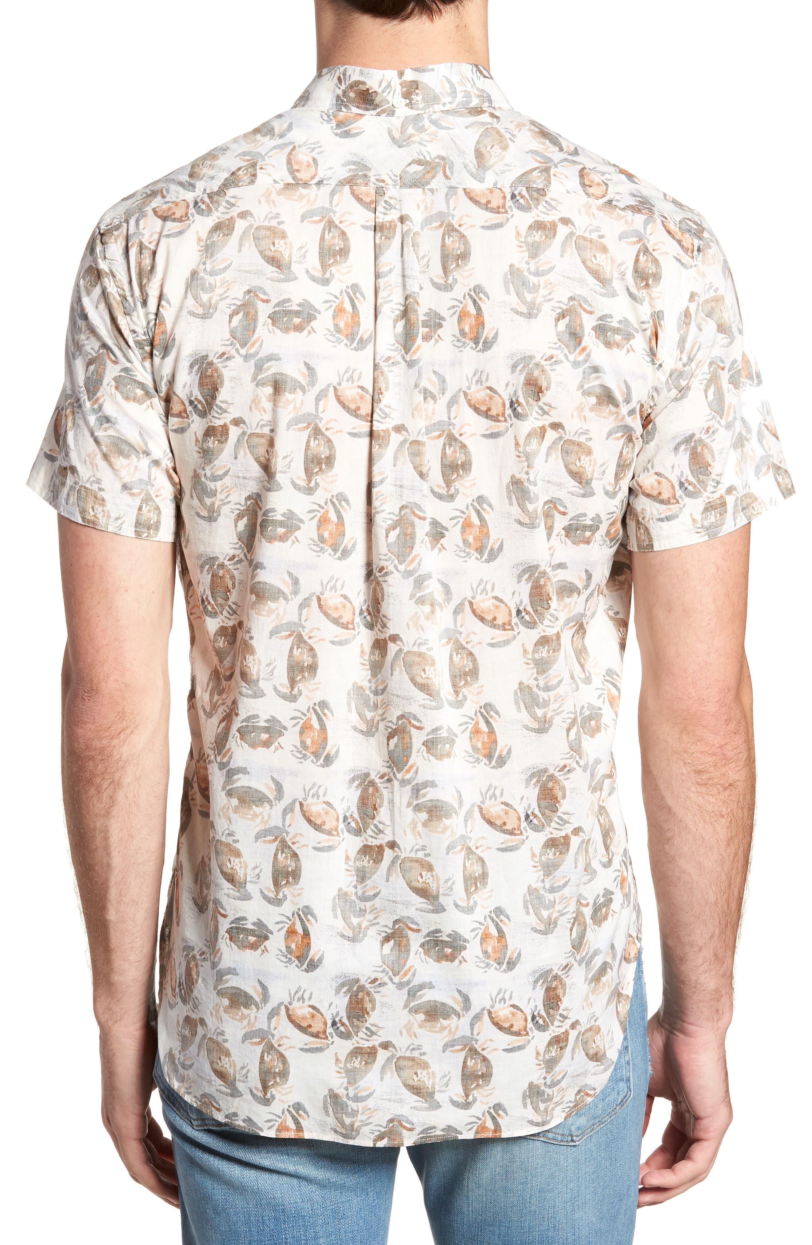 Tuscumbia Standard Fit Short Sleeve Sport Shirt,                             Alternate thumbnail 3, color,                             Cream Crab