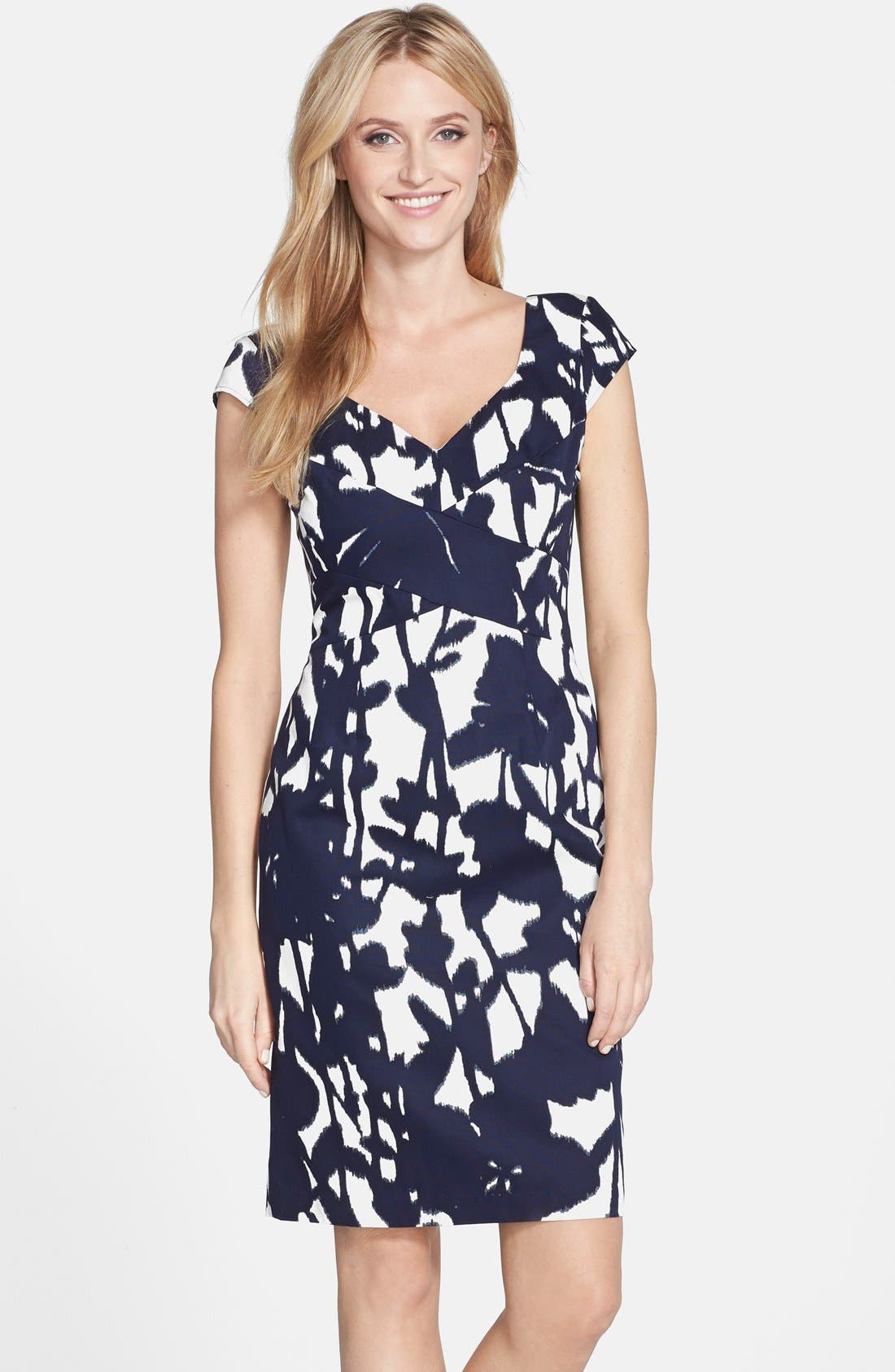 Main Image - Adrianna Papell Print Cotton Faille Sheath Dress