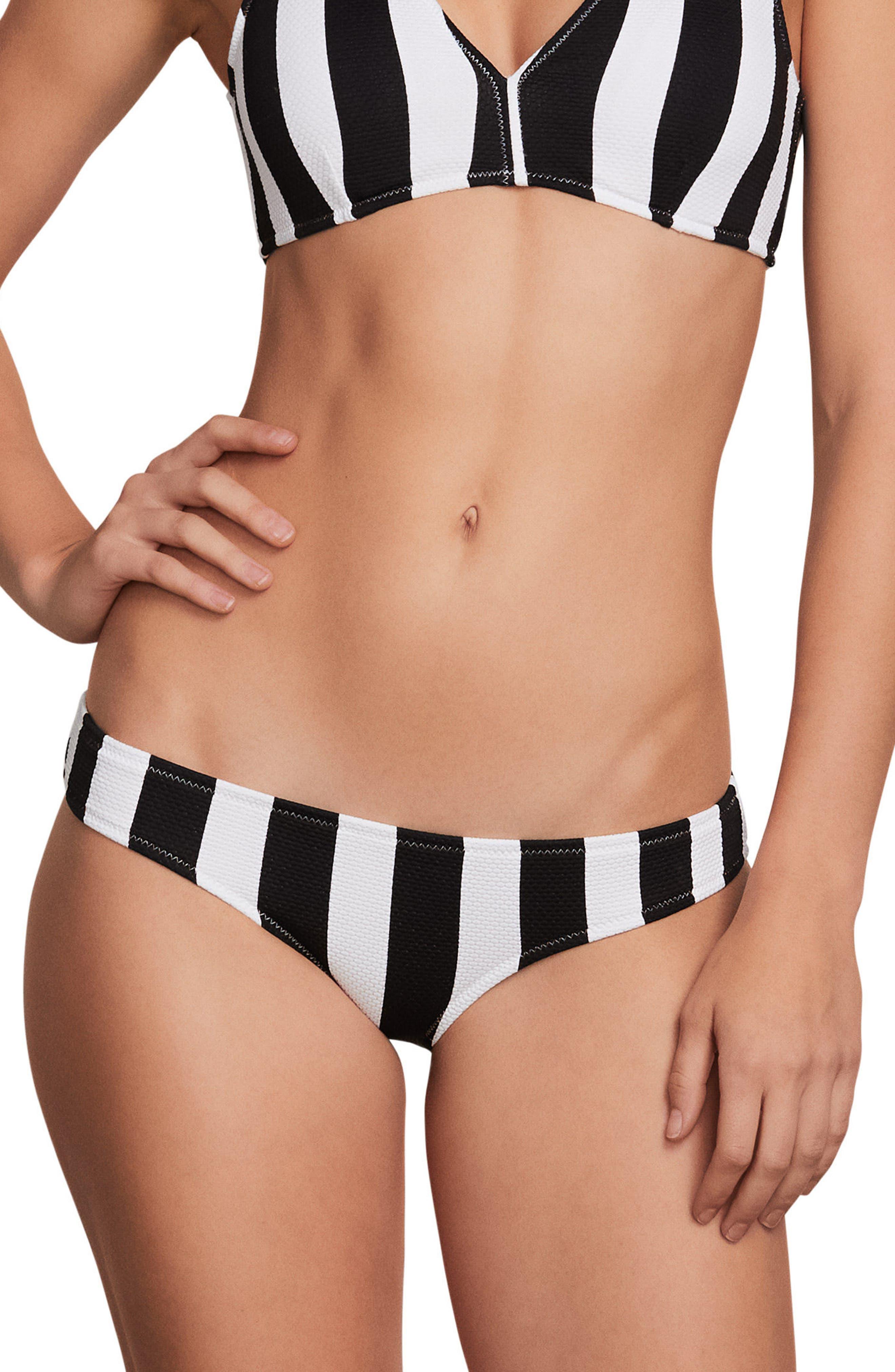 Stripe Club Classic Bikini Bottoms,                             Main thumbnail 1, color,                             Black