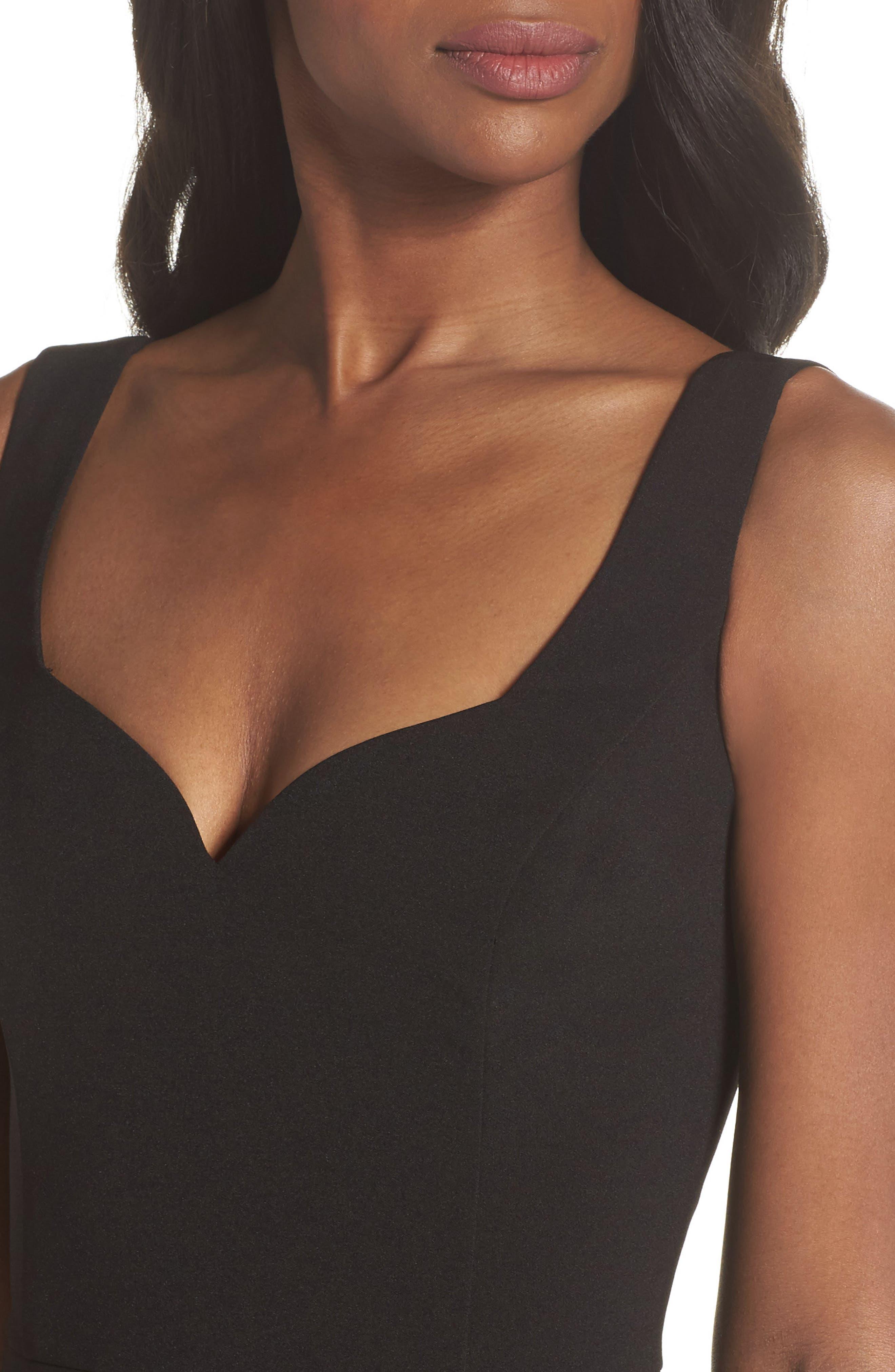 Jeanie Trumpet Midi Dress,                             Alternate thumbnail 4, color,                             Black
