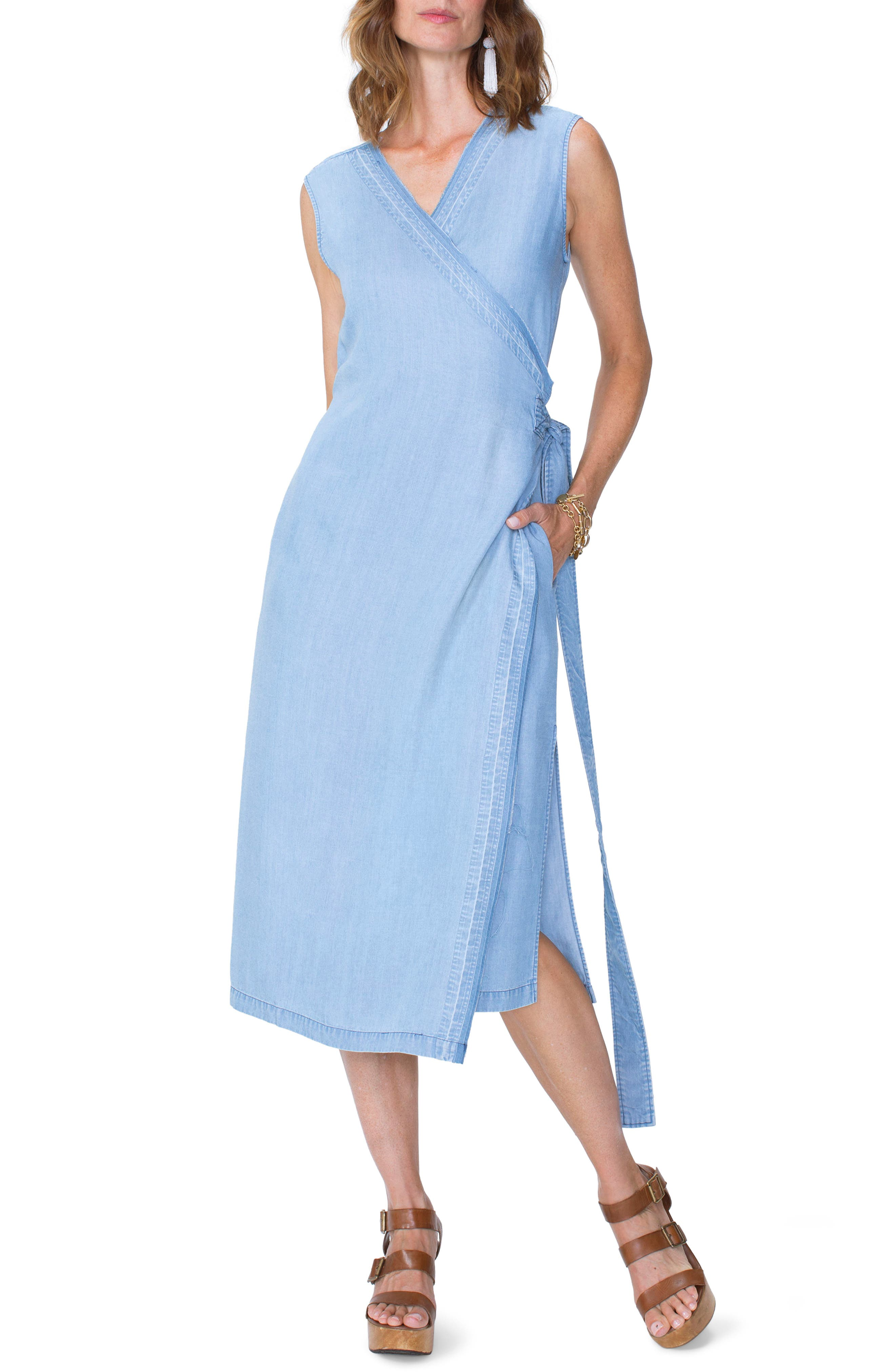 Chambray Release Detail Wrap Dress,                             Main thumbnail 1, color,                             Sea Mist Wash