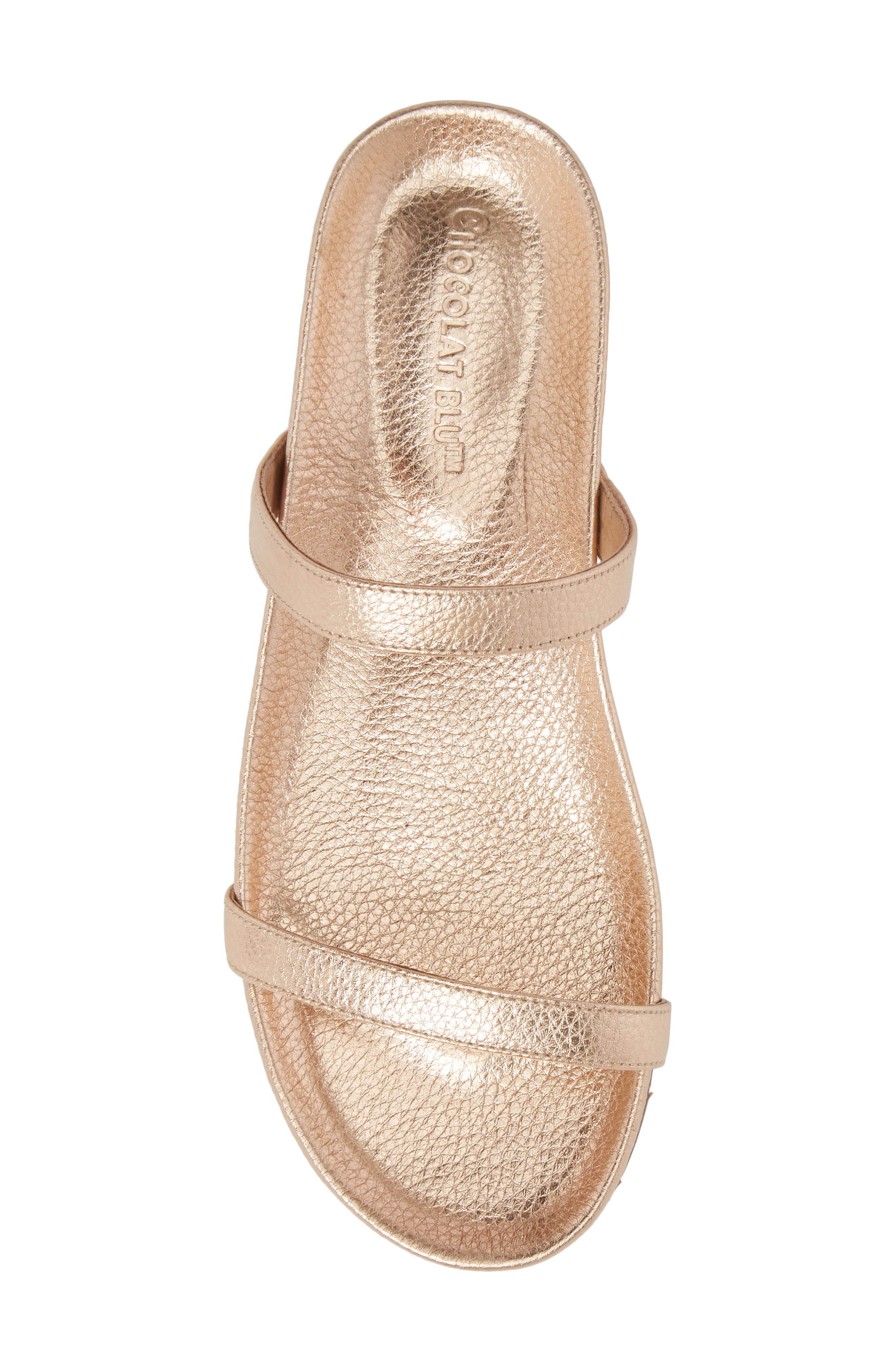 Yale Two-Strap Sandal,                             Alternate thumbnail 5, color,                             Rose Gold Leather