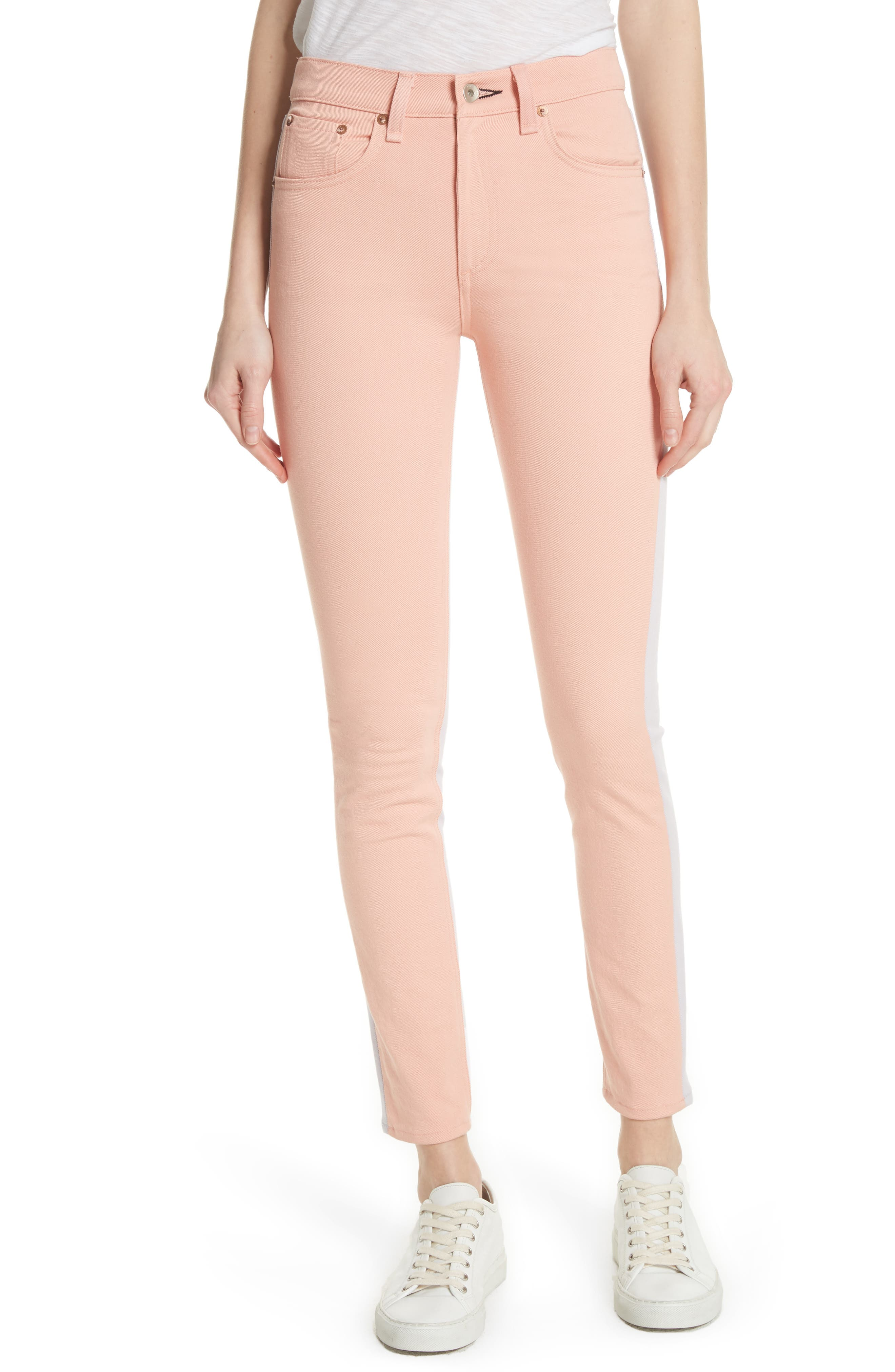 High Waist Skinny Jeans,                             Main thumbnail 1, color,                             Peach/ Lilac