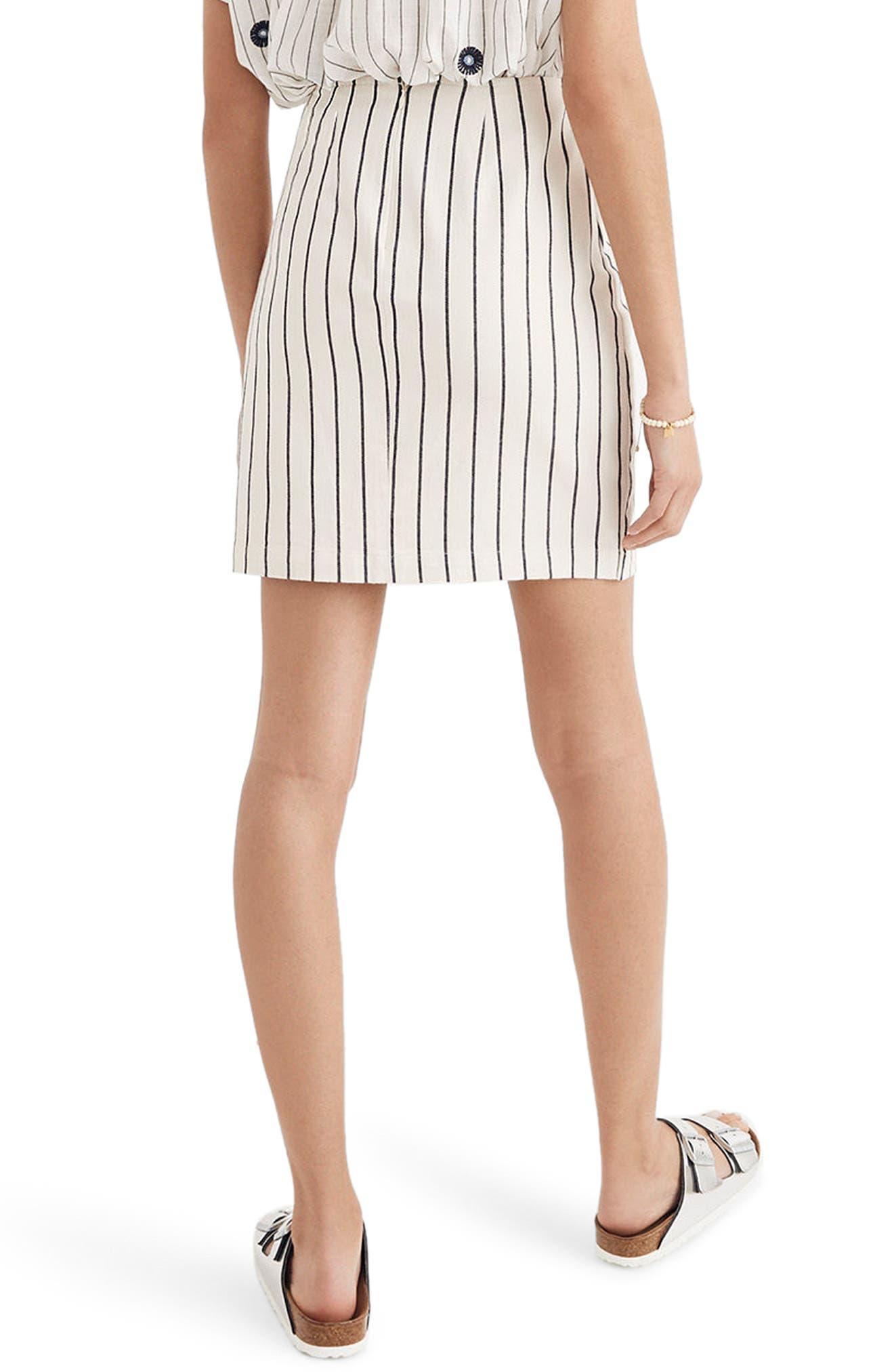 Stripe Faux Wrap Skirt,                             Alternate thumbnail 2, color,                             Canvas