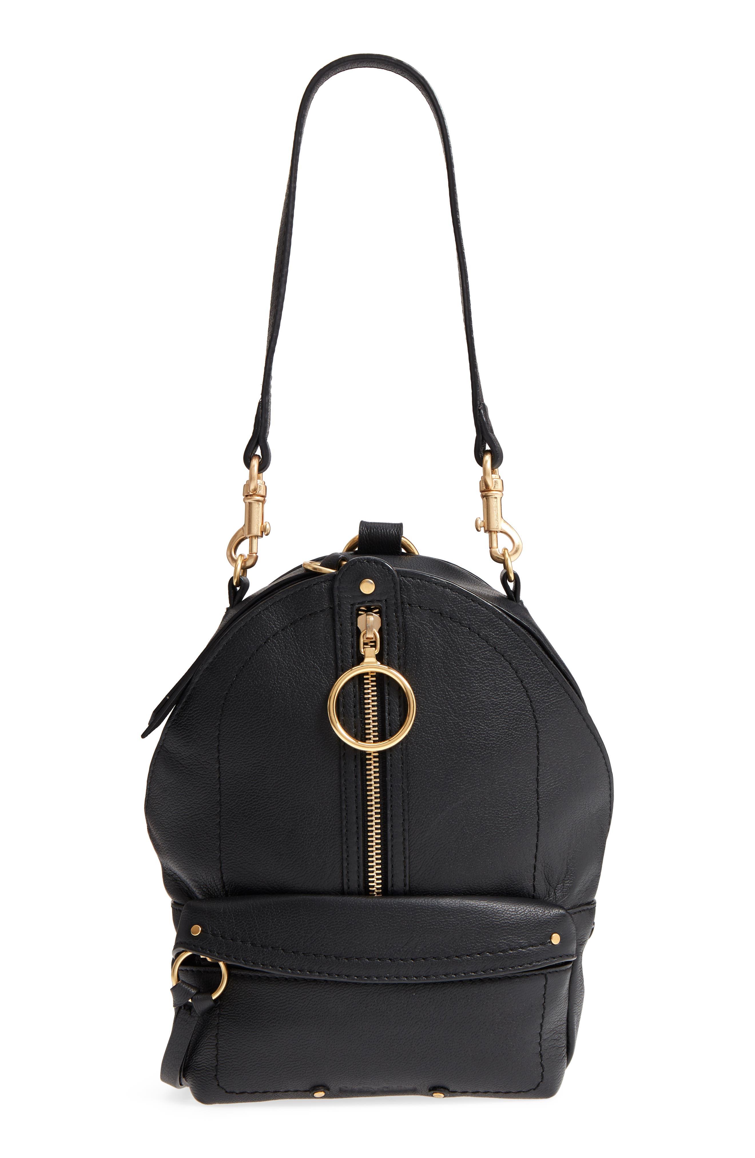 Mini Mino Leather Backpack,                             Alternate thumbnail 6, color,                             Black