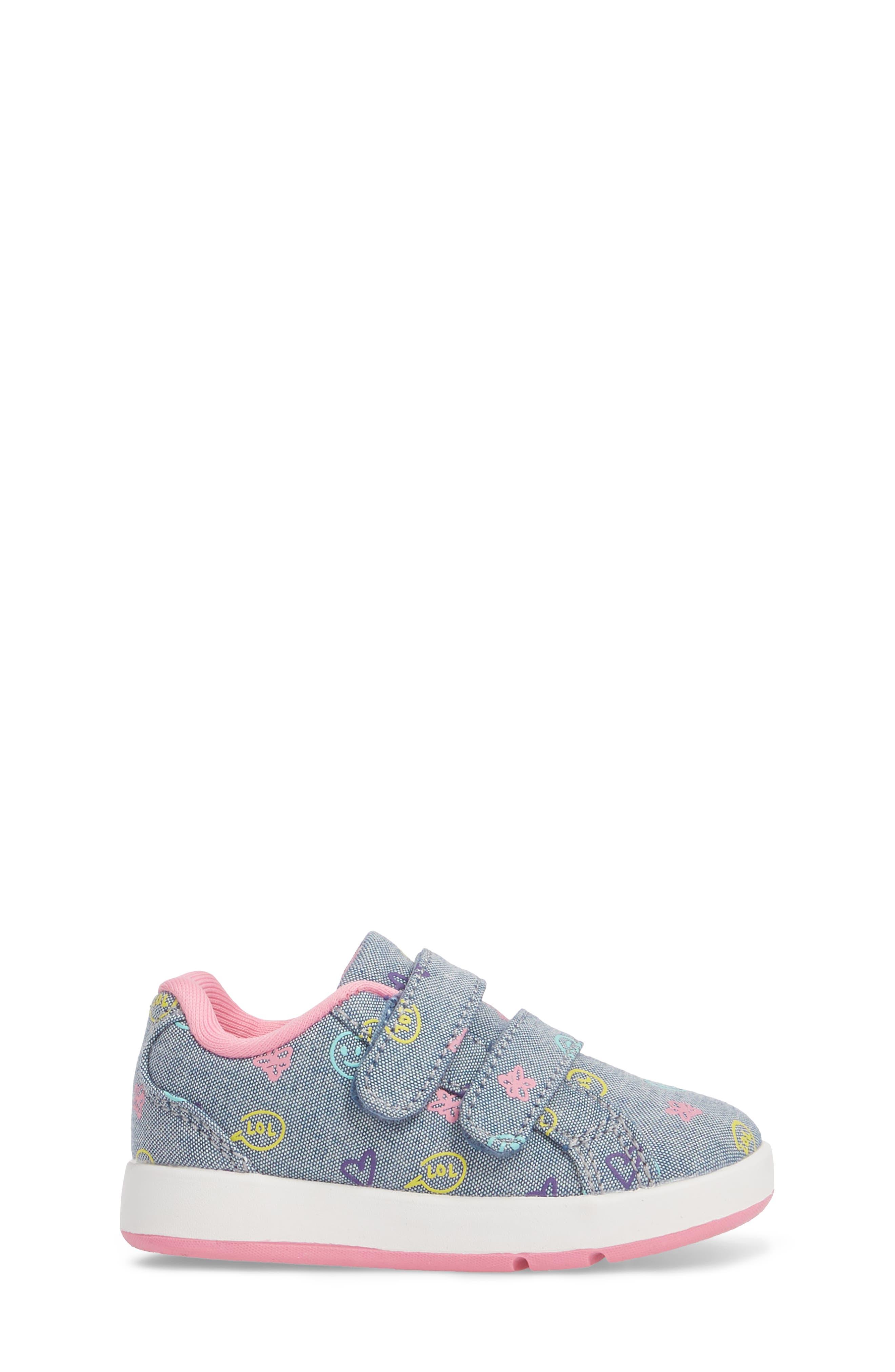 Kate Print Sneaker,                             Alternate thumbnail 3, color,                             Blue Denim Printed Fabric