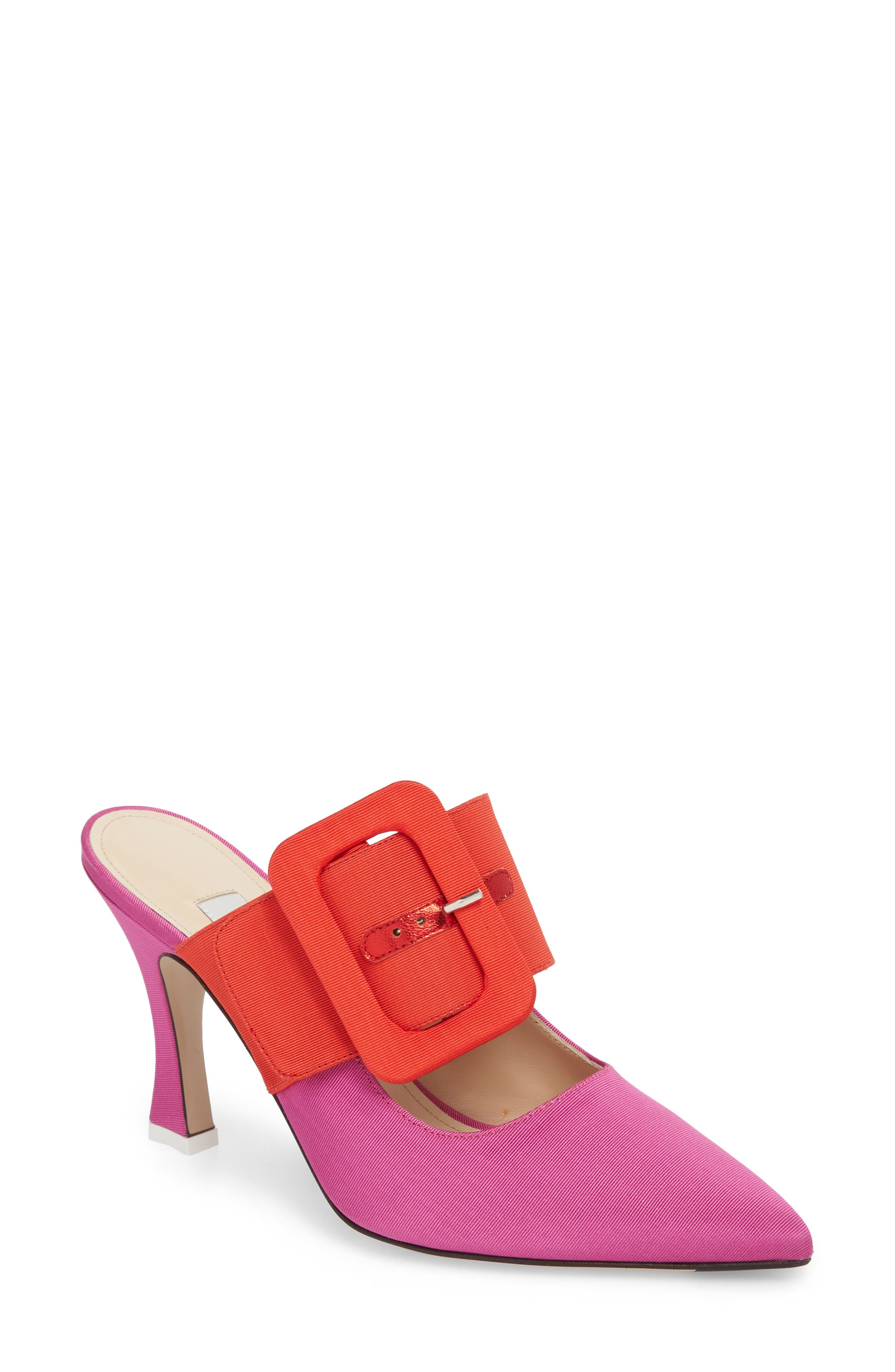 Chloé Buckle Mule,                             Main thumbnail 1, color,                             Pink/ Red
