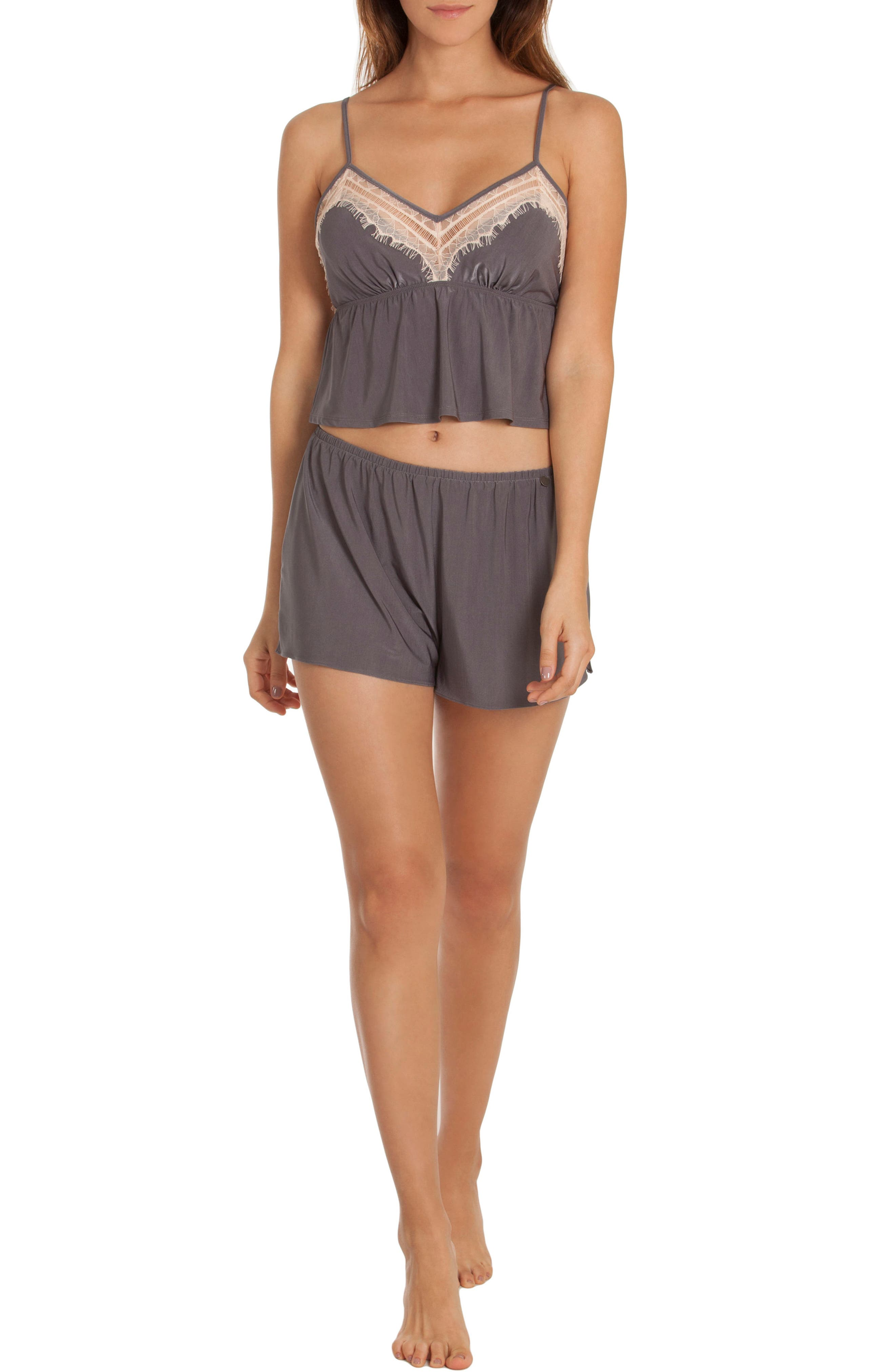 Cropped Camisole,                             Alternate thumbnail 4, color,                             Charcoal