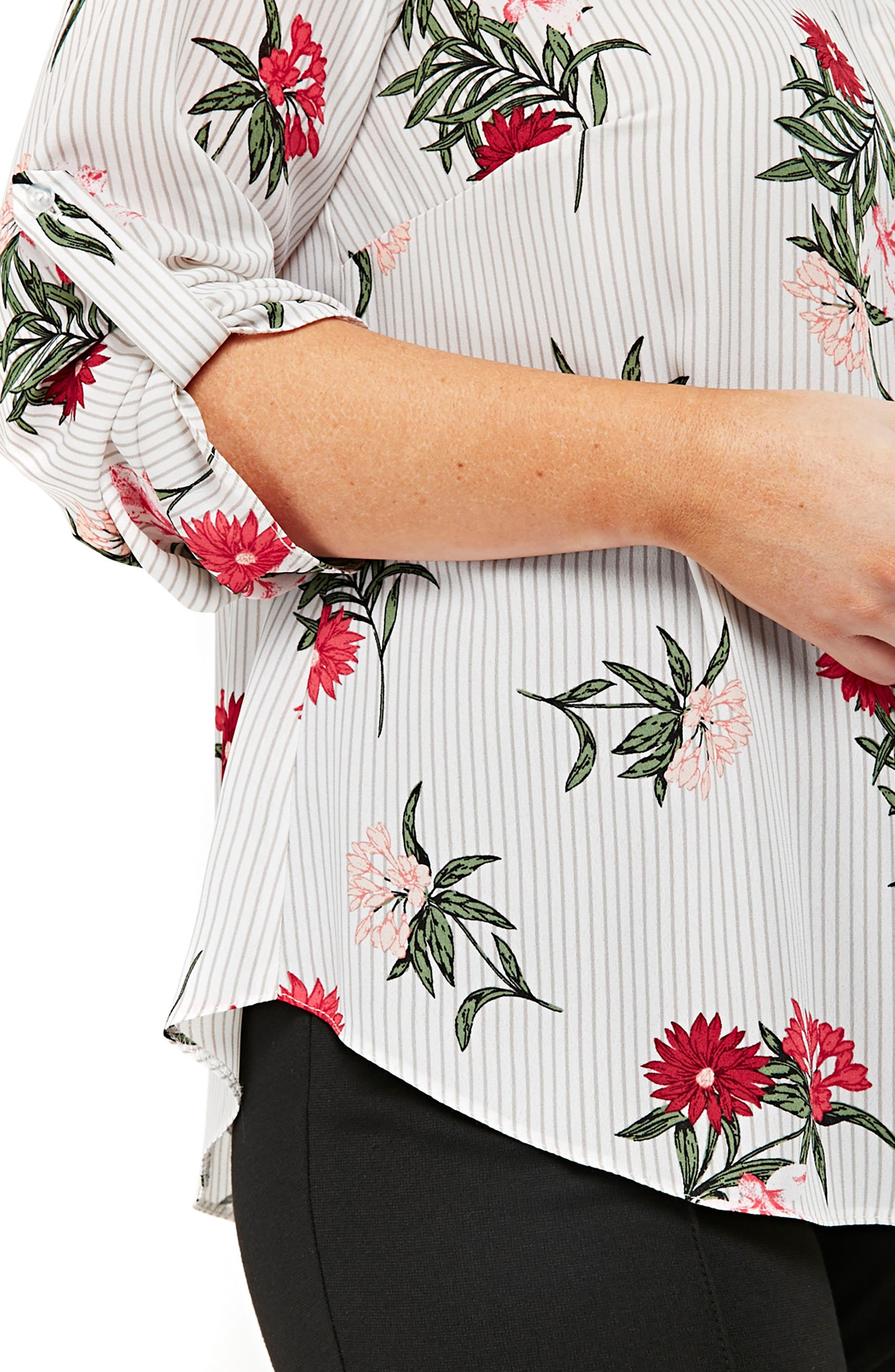 Floral Stripe Shirt,                             Alternate thumbnail 3, color,                             Multi Bright