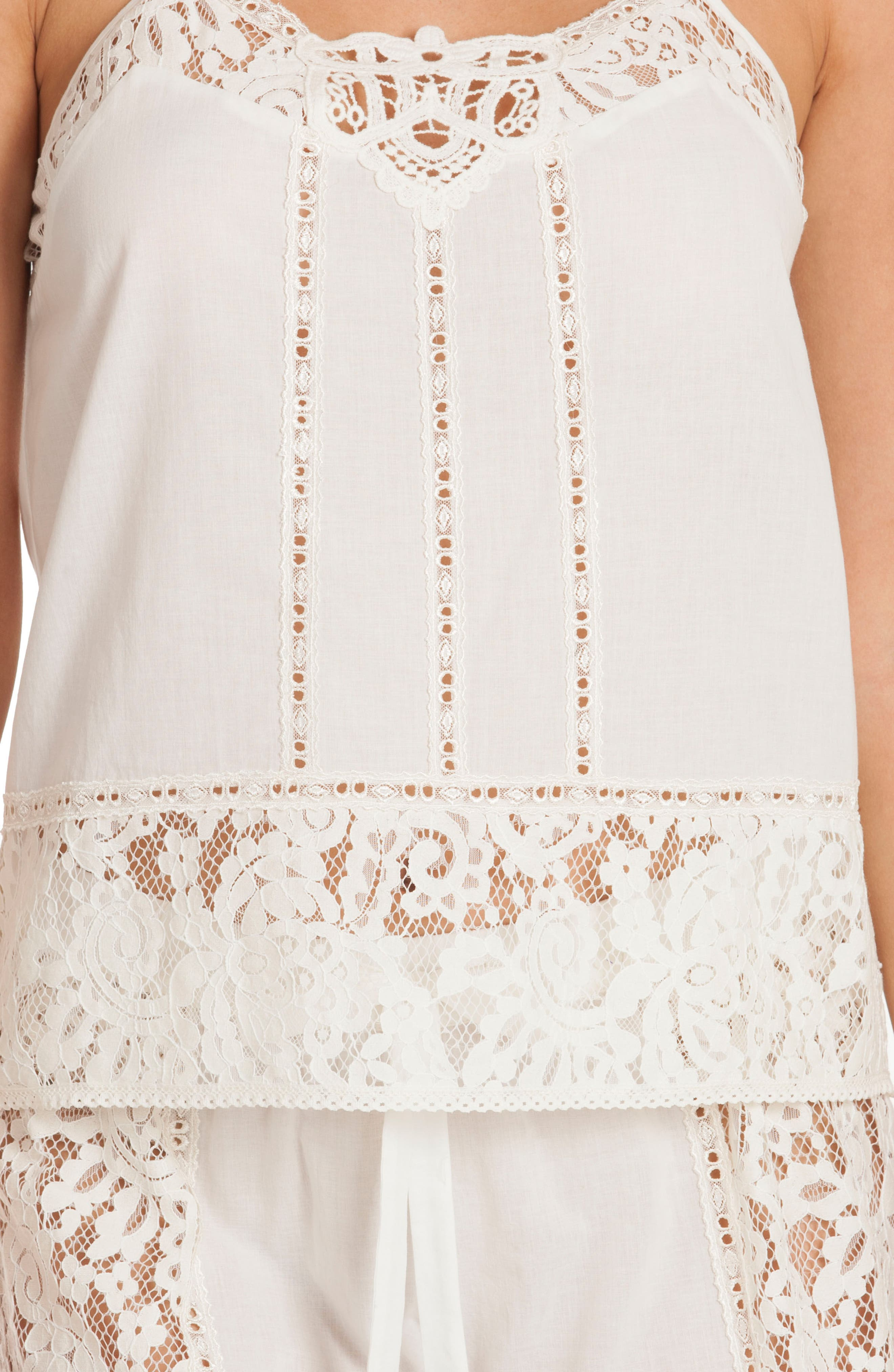 Eyelet Cotton Short Pajamas,                             Alternate thumbnail 5, color,                             Ivory/ Beige