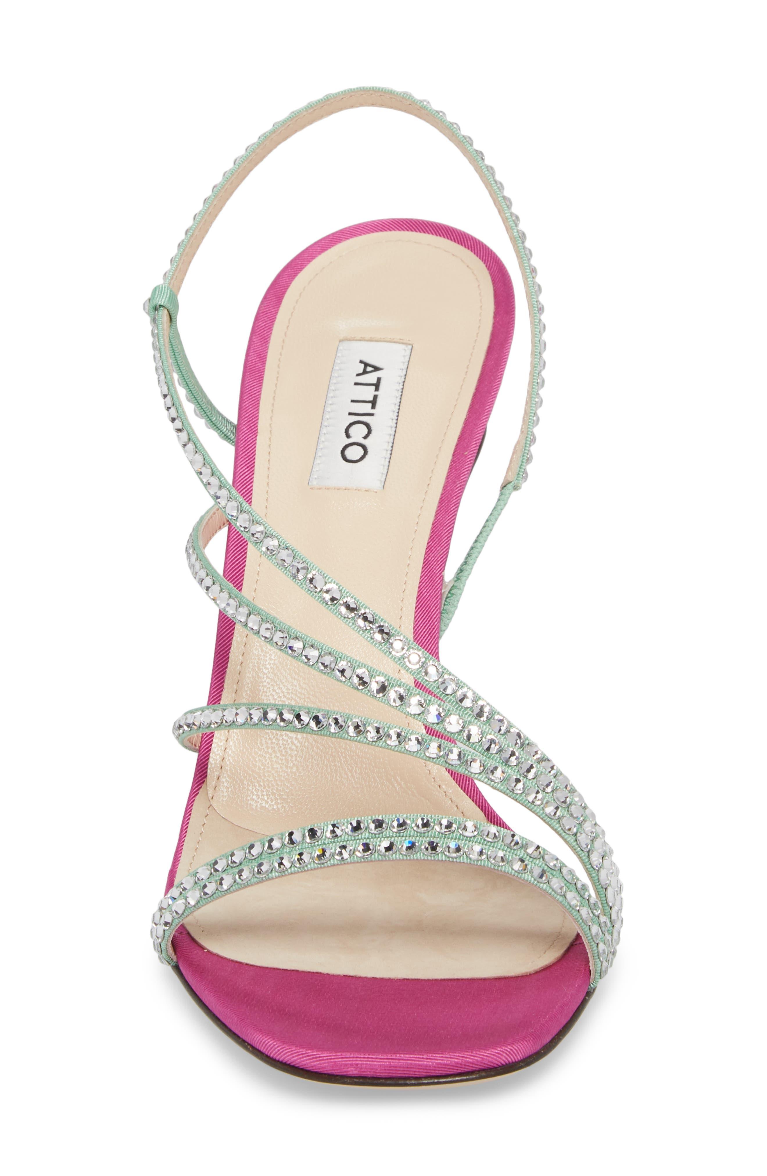 Crystal Embellished Strappy Sandal,                             Alternate thumbnail 4, color,                             Pink/ Silver