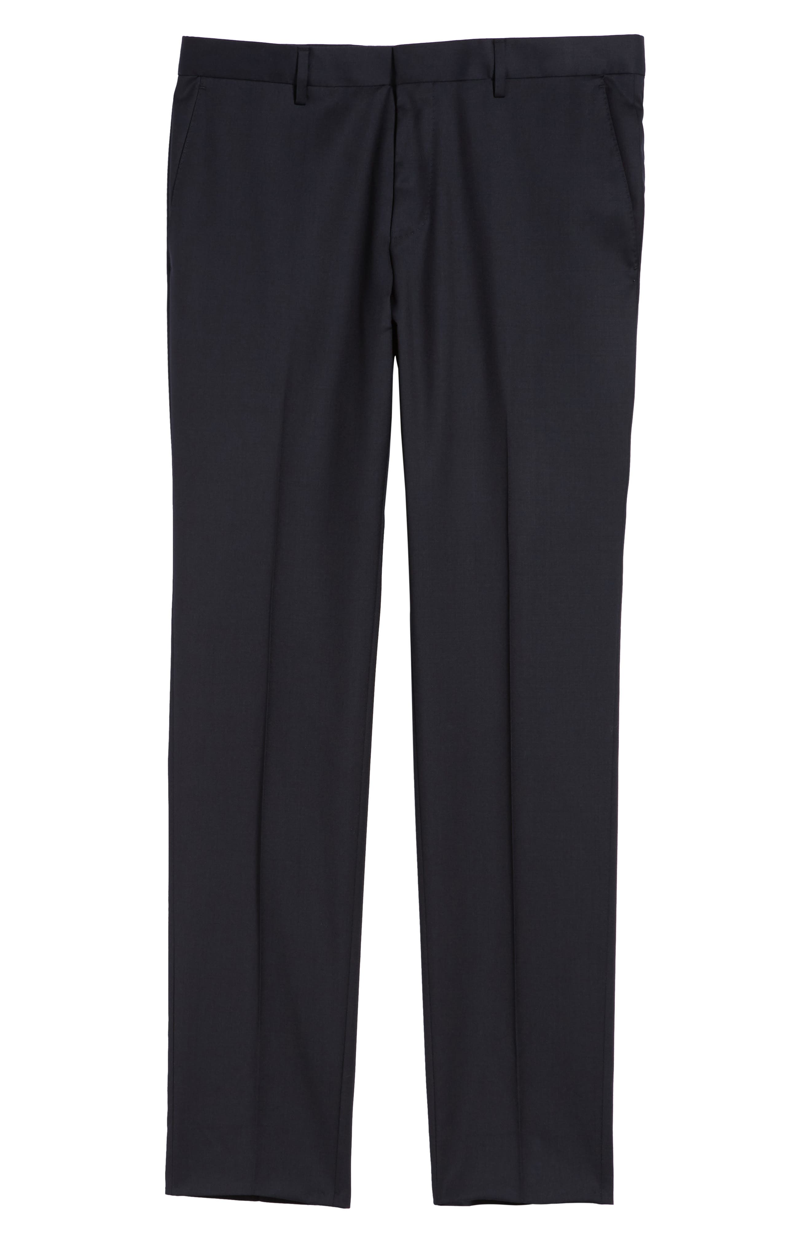 Gibson CYL Flat Front Solid Wool Trousers,                             Alternate thumbnail 6, color,                             Dark Blue