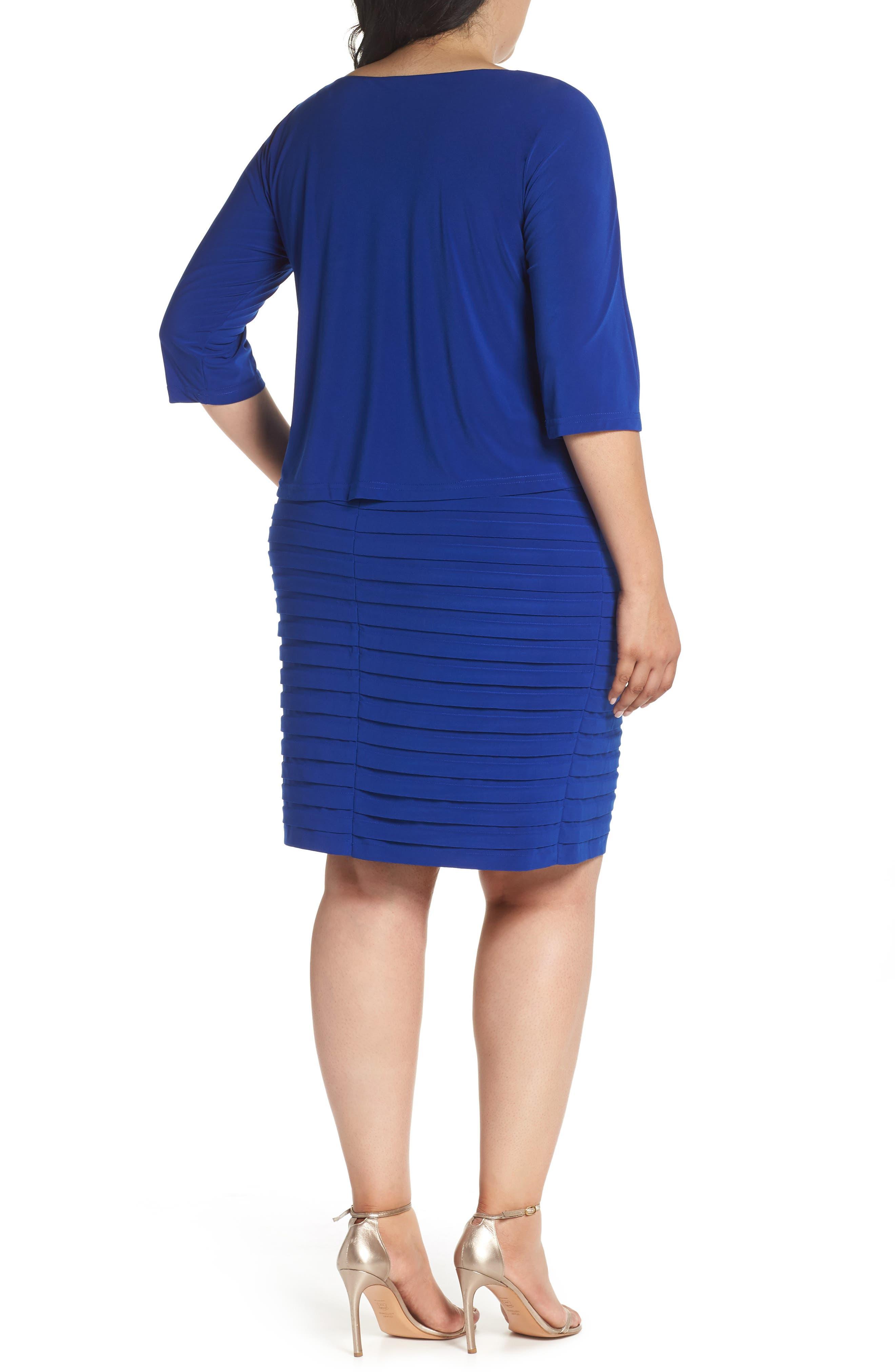 Shutter Pleat Popover Sheath Dress,                             Alternate thumbnail 2, color,                             Sapphire