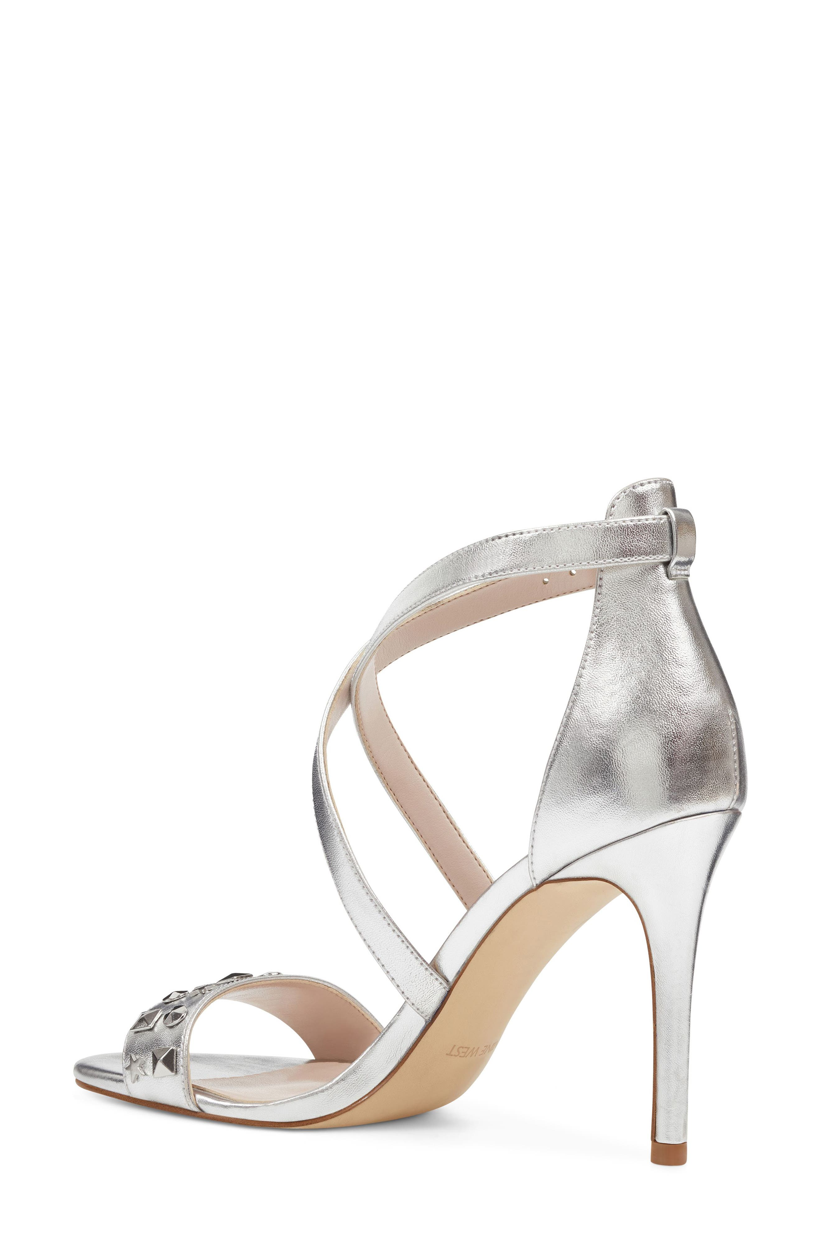 Maziany Studded Sandal,                             Alternate thumbnail 2, color,                             Silver Faux Leather