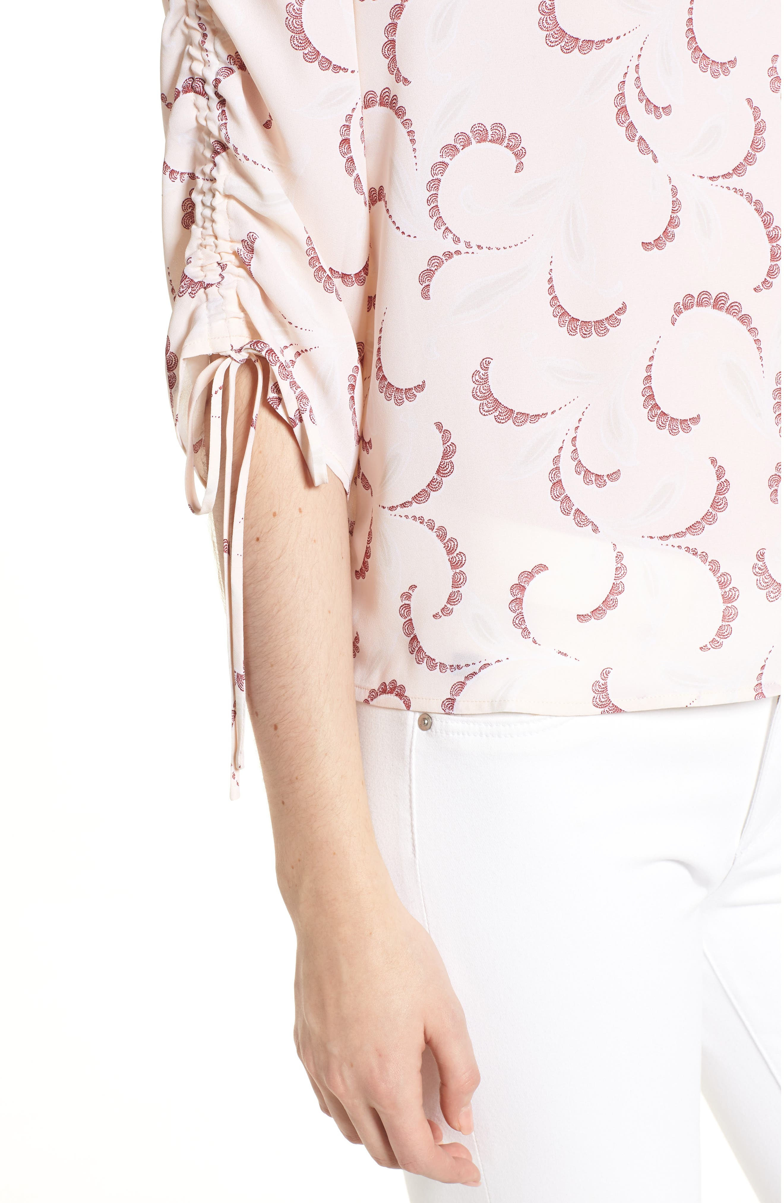 Print Ruched Sleeve Top,                             Alternate thumbnail 4, color,                             Pink Peony Bud Soft Swirls