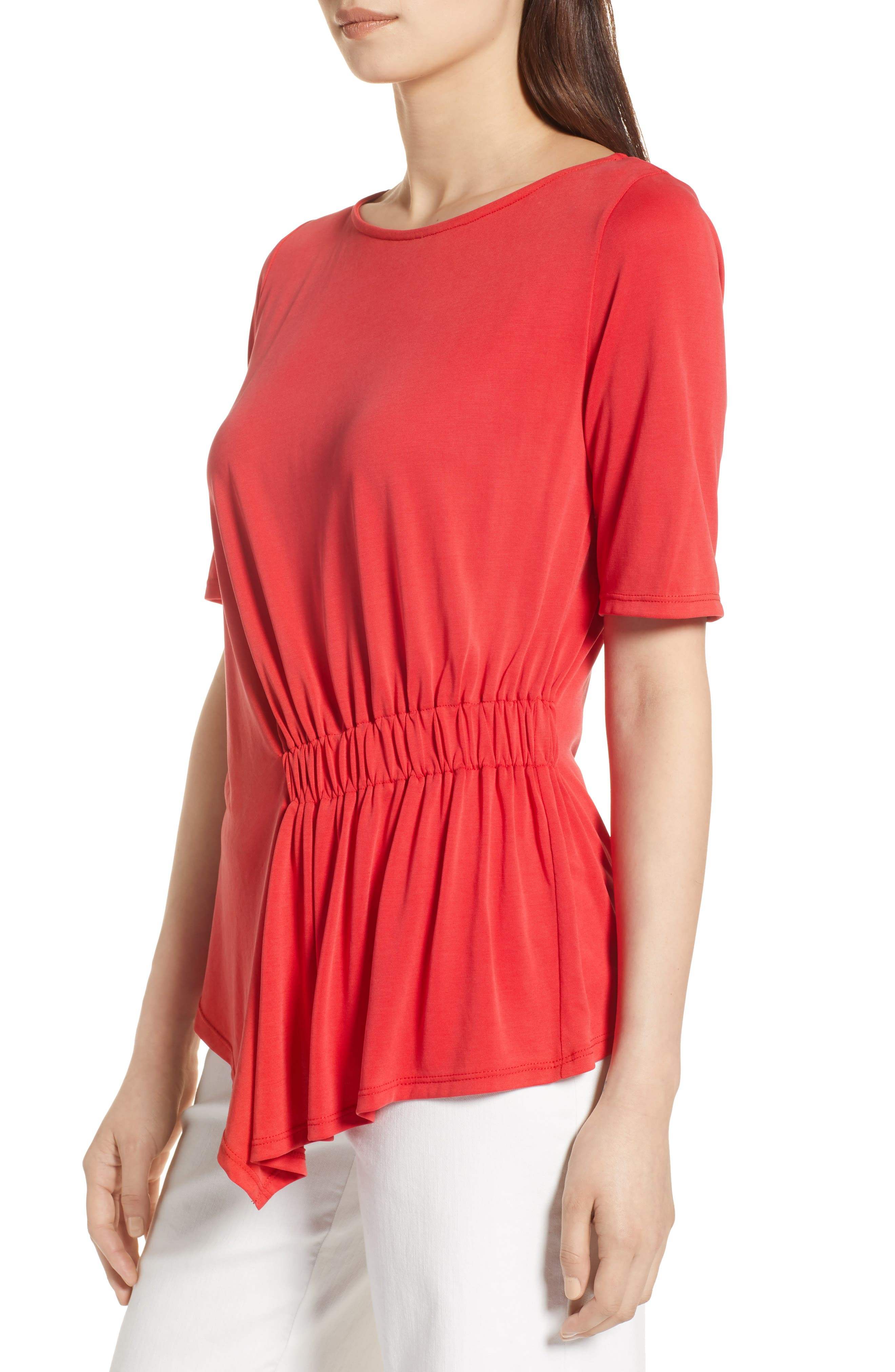 Ruched Waist Tee,                             Alternate thumbnail 3, color,                             Red