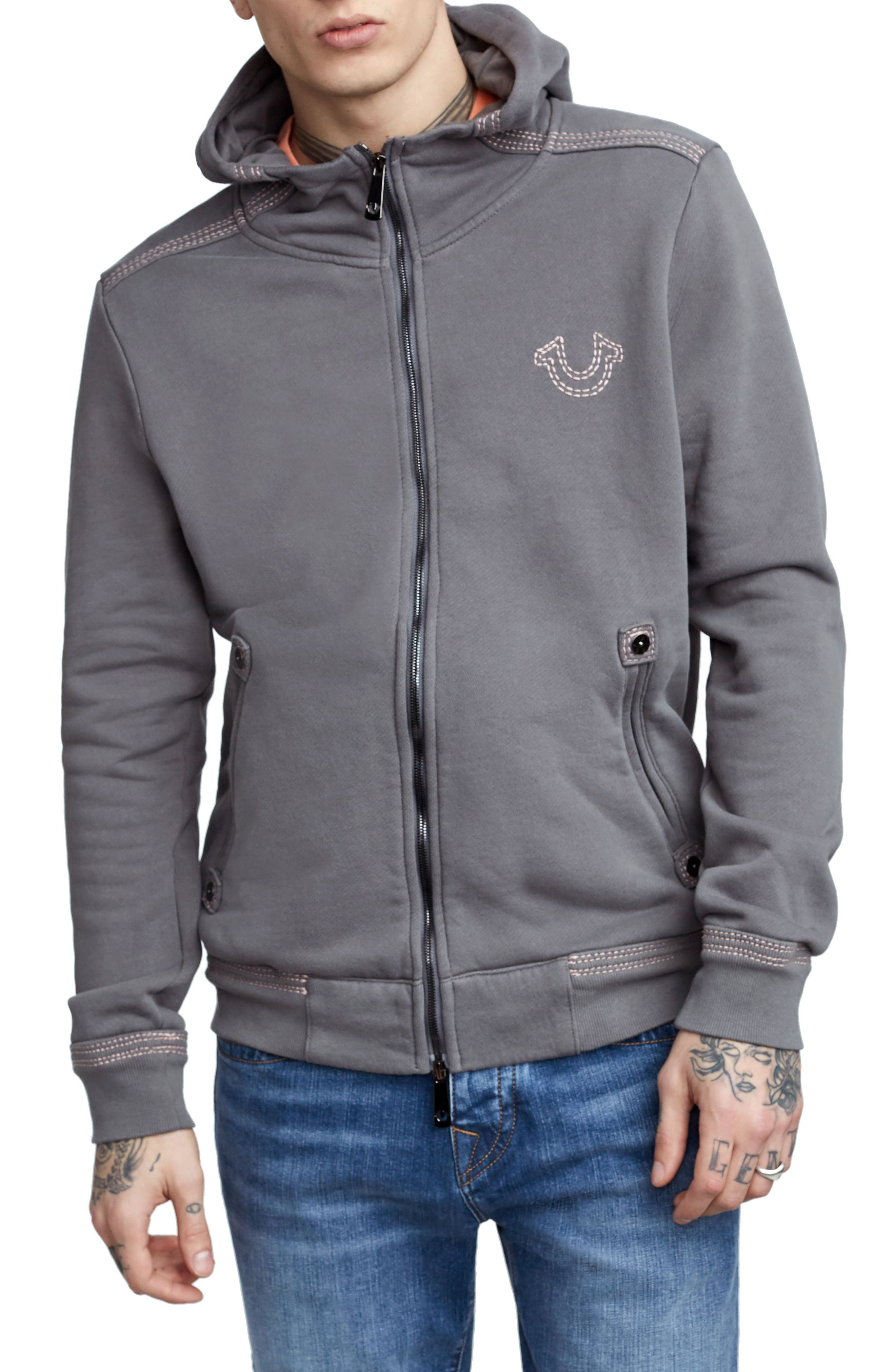 Zip-Up Hoodie,                         Main,                         color, Charcoal