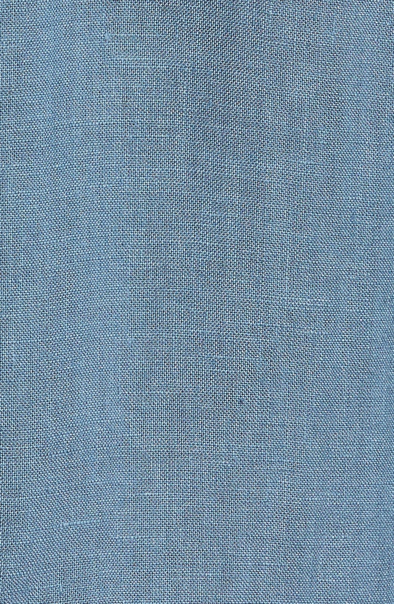 Irving Trim Fit Solid Linen Sport Shirt,                             Alternate thumbnail 5, color,                             Hydro