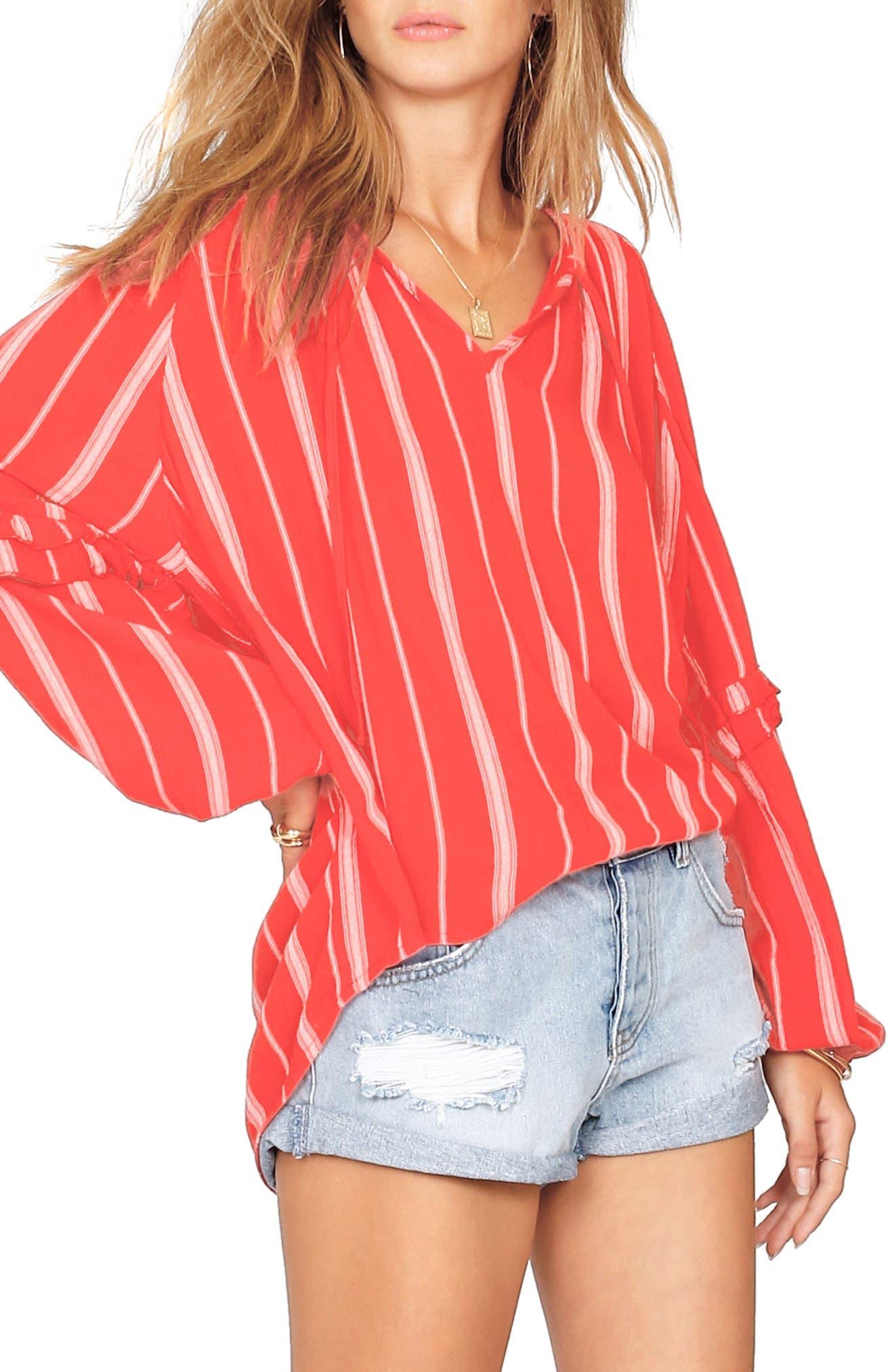 Solare Stripe Top,                         Main,                         color, Rebel Red