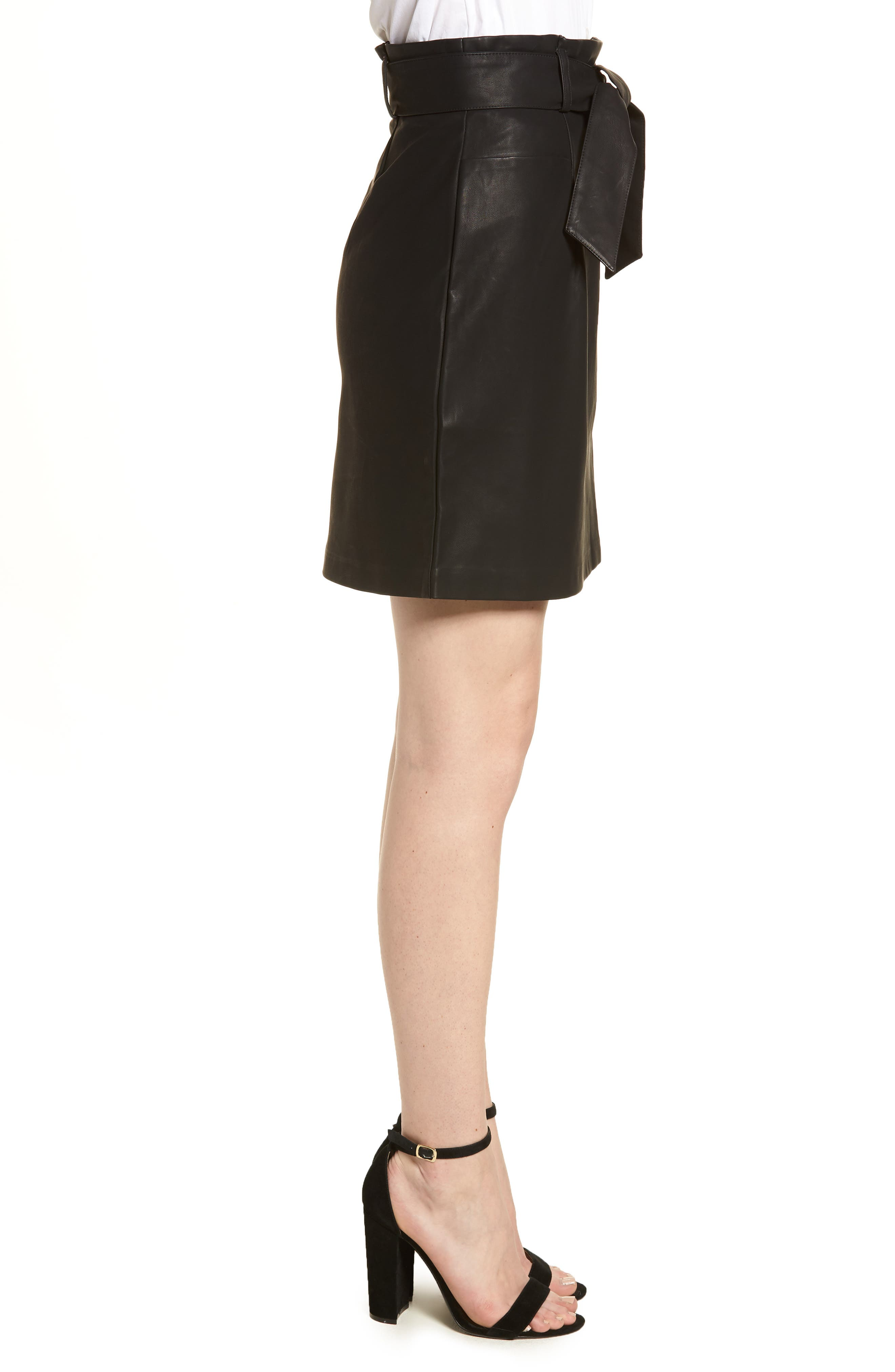 Paperbag Faux Leather Miniskirt,                             Alternate thumbnail 3, color,                             Black