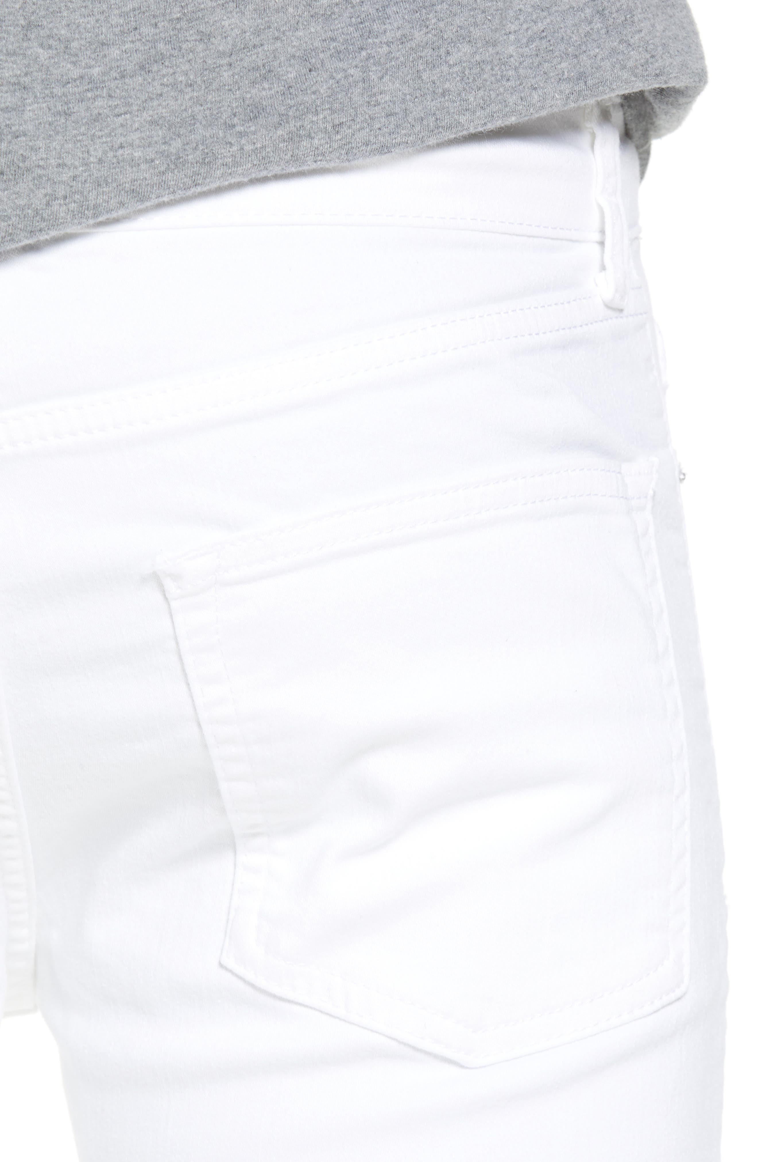 Skinny Spray On Ripped Jeans,                             Alternate thumbnail 4, color,                             White