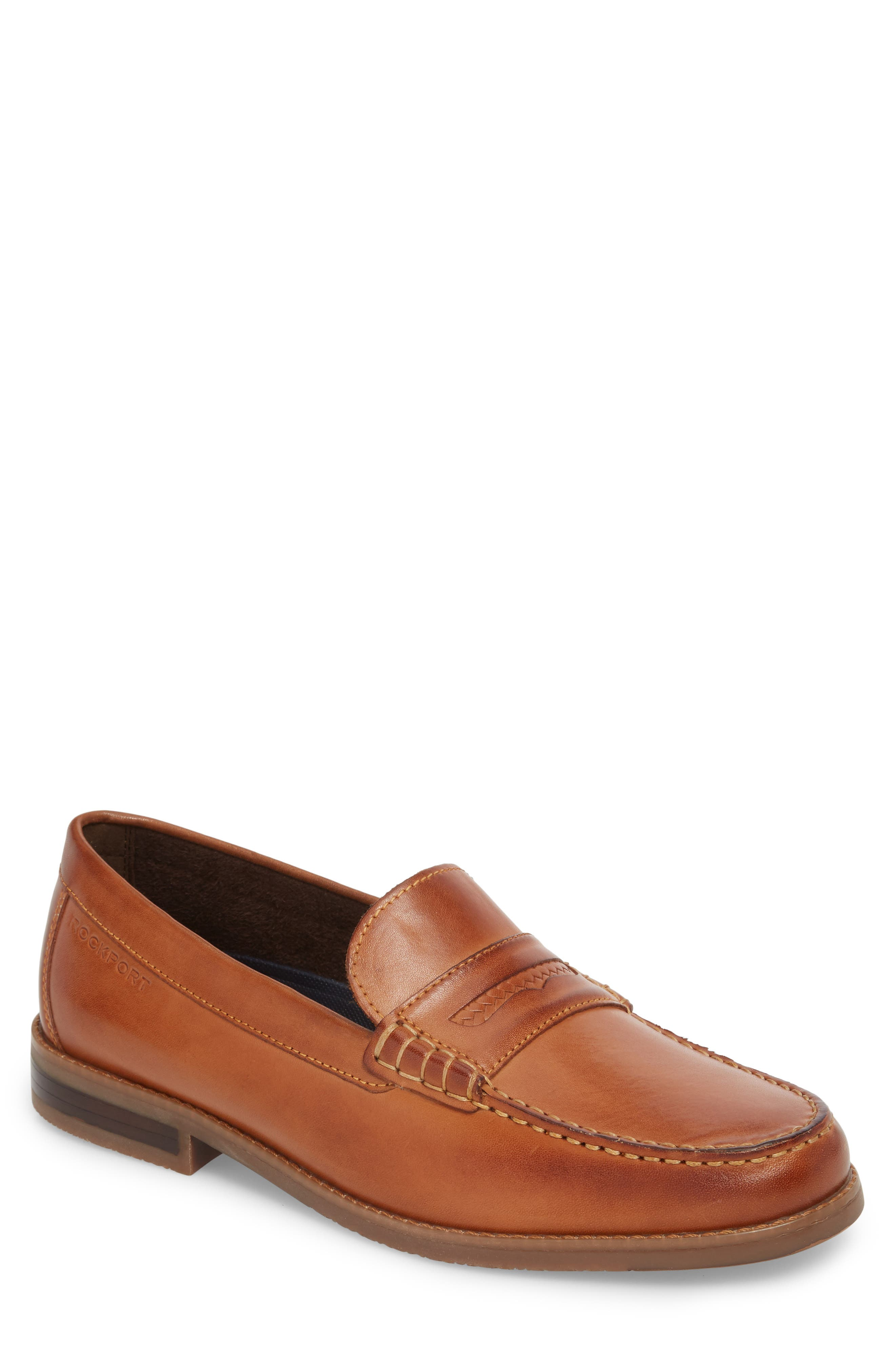 Cayleb Moc Toe Penny Loafer,                             Main thumbnail 1, color,                             Cognac Leather