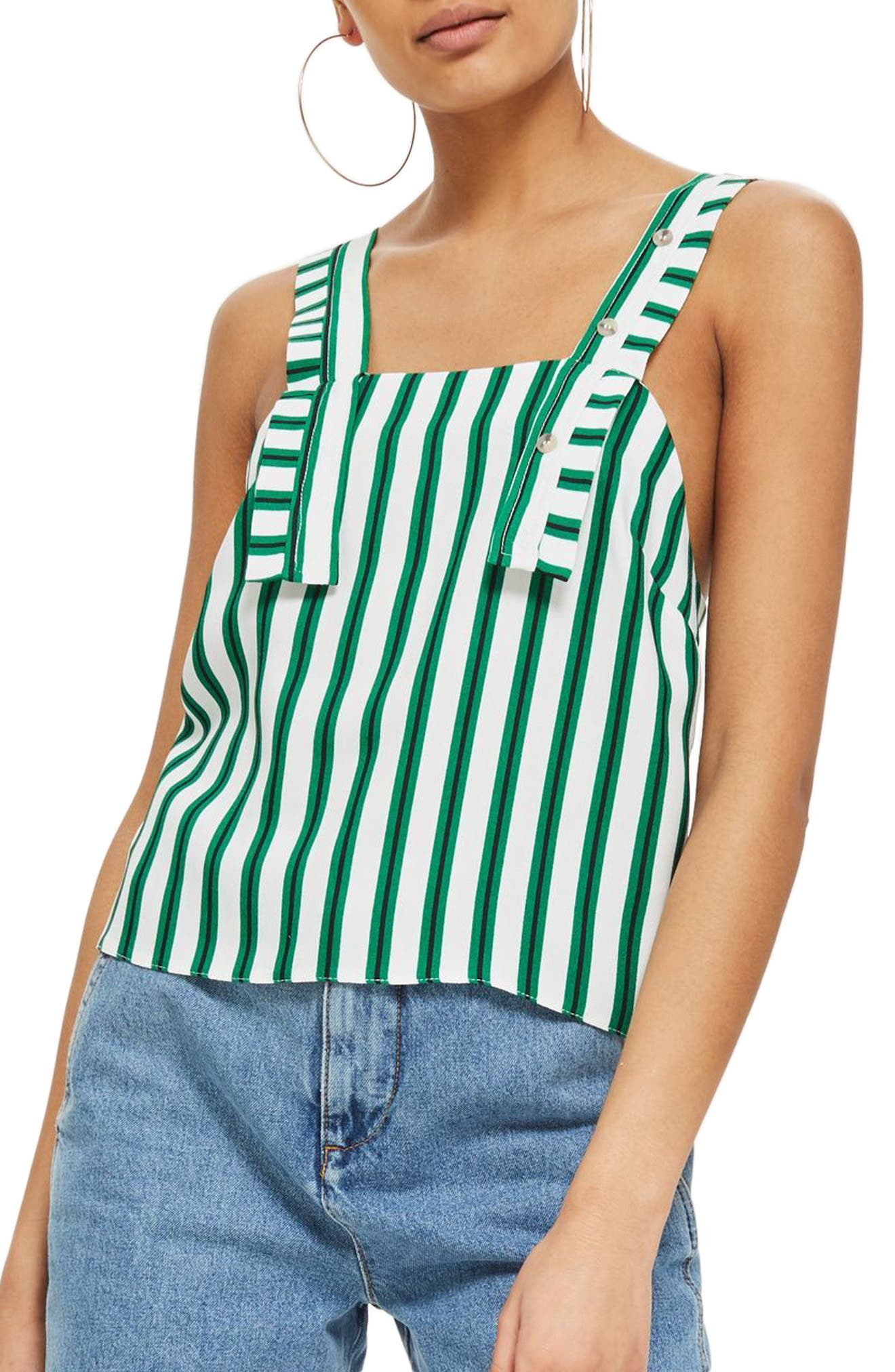 Stripe Button Camisole,                             Main thumbnail 1, color,                             Green Multi