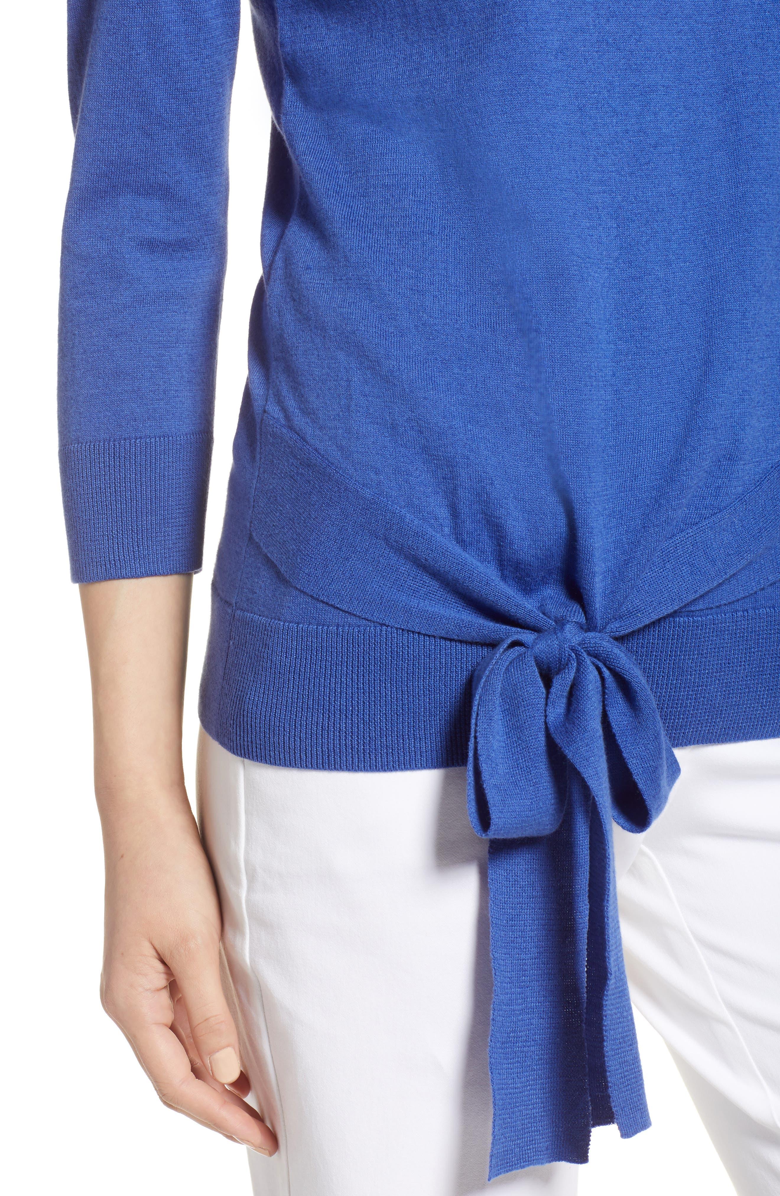 Pima Cotton Blend Tie Sweater,                             Alternate thumbnail 4, color,                             Blue Marine