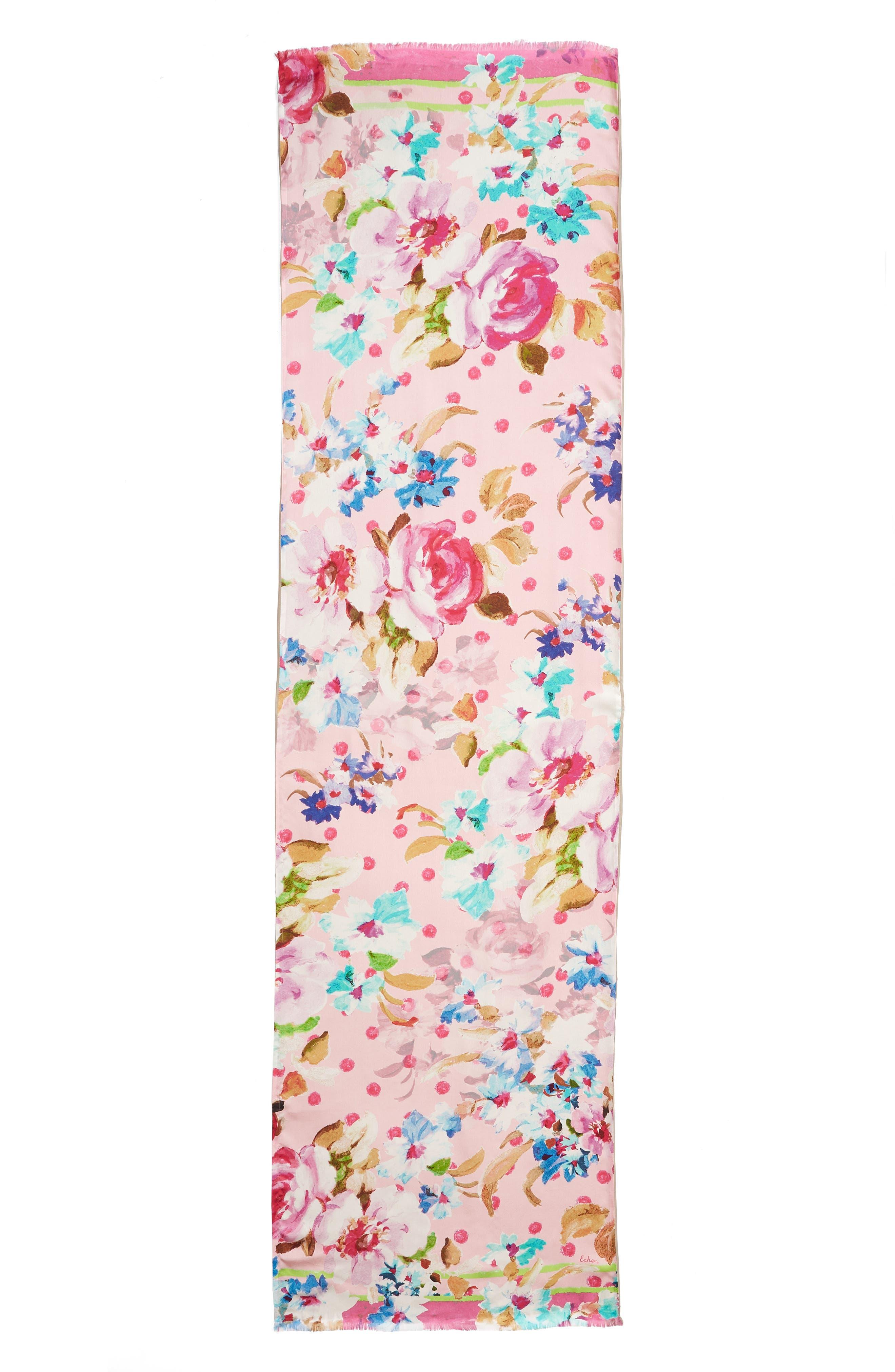 Springtime Double-Face Silk Scarf,                             Alternate thumbnail 3, color,                             Rose Pink