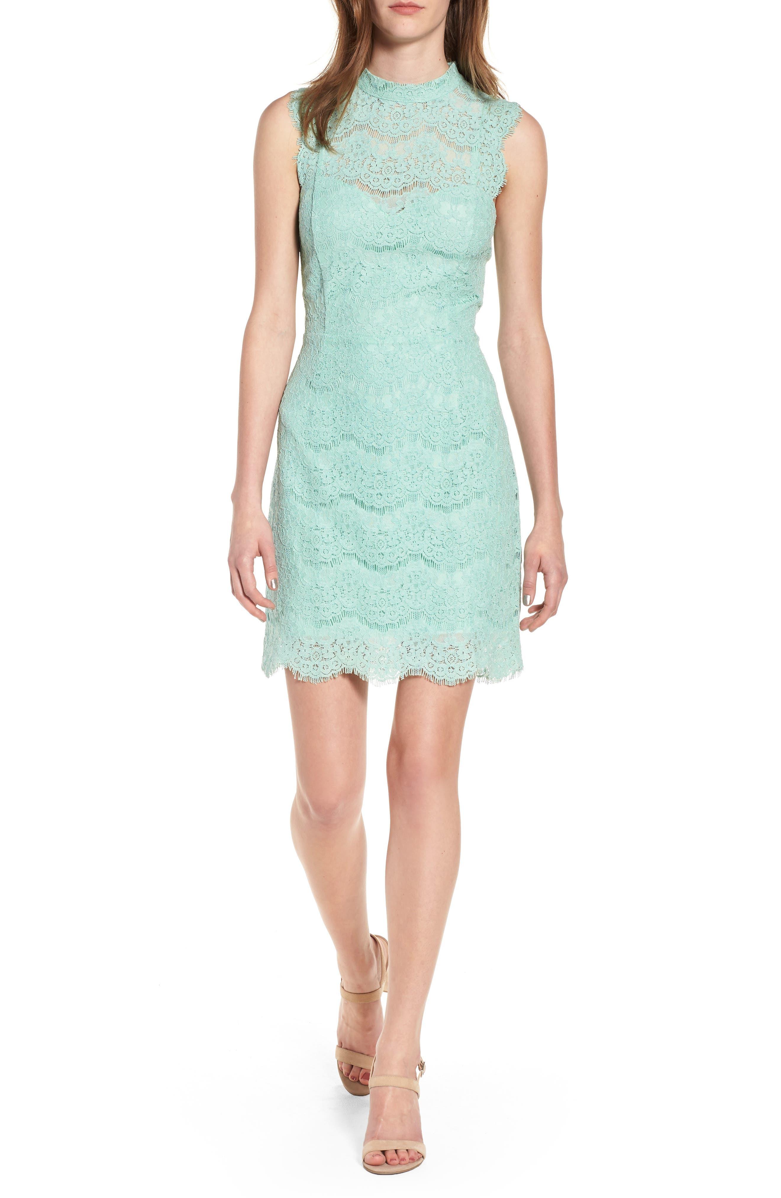 Lace Body-Con Minidress,                         Main,                         color, Lichen