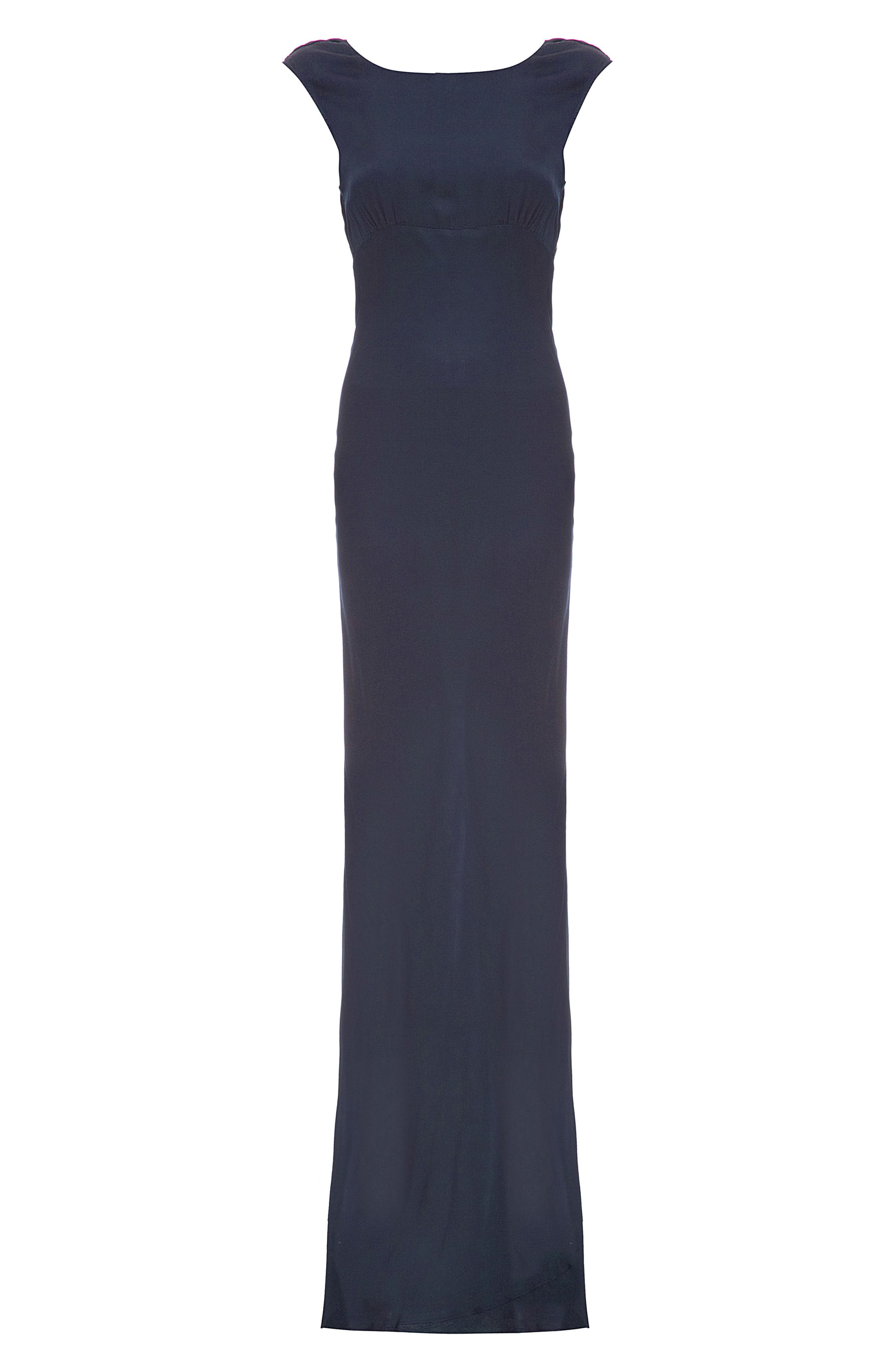 Salma Cowl Back Gown,                             Alternate thumbnail 4, color,                             Navy
