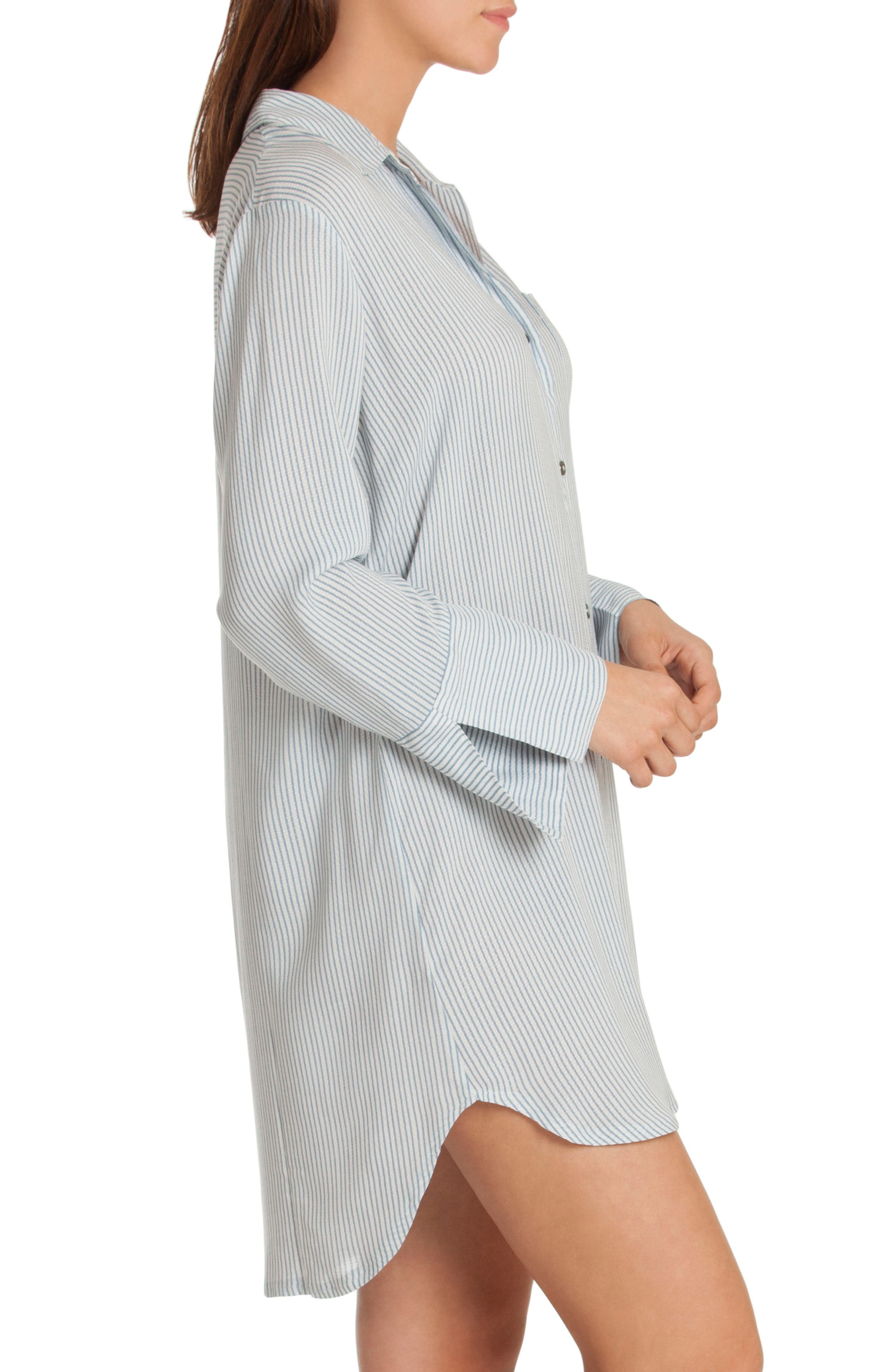 Sleep Shirt,                             Alternate thumbnail 3, color,                             Denim Stripe