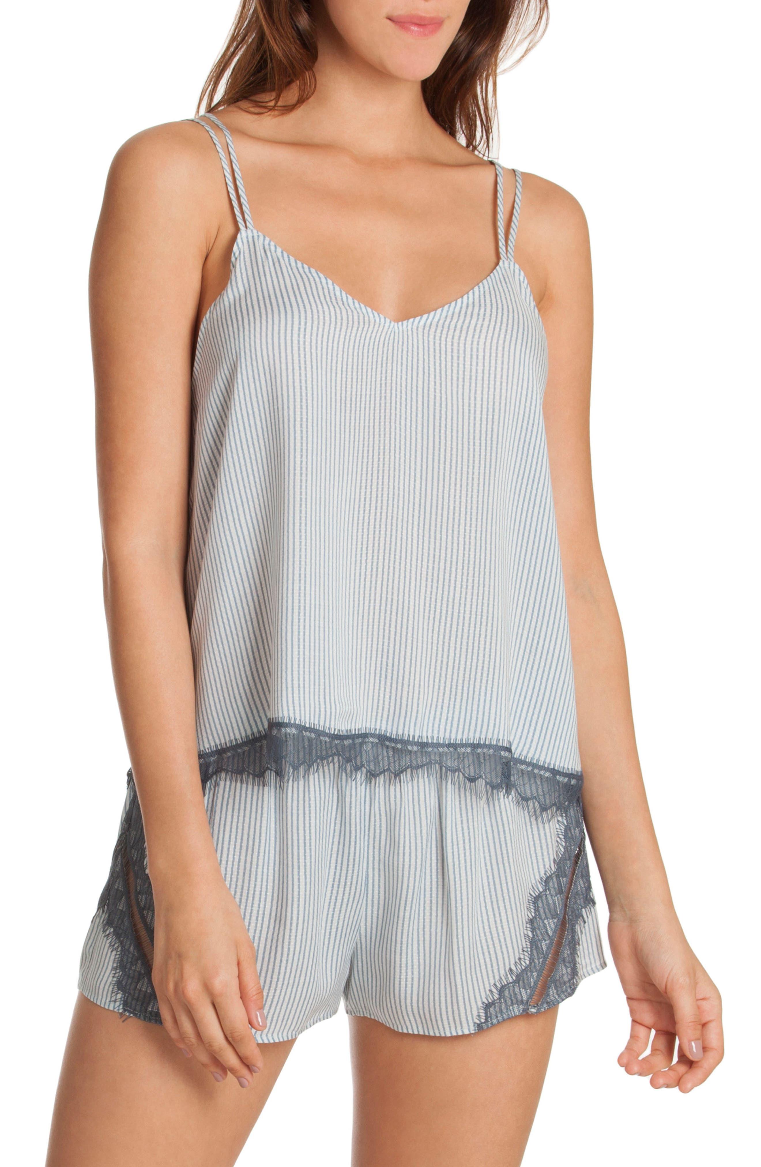 Short Pajamas,                             Main thumbnail 1, color,                             Denim Stripe