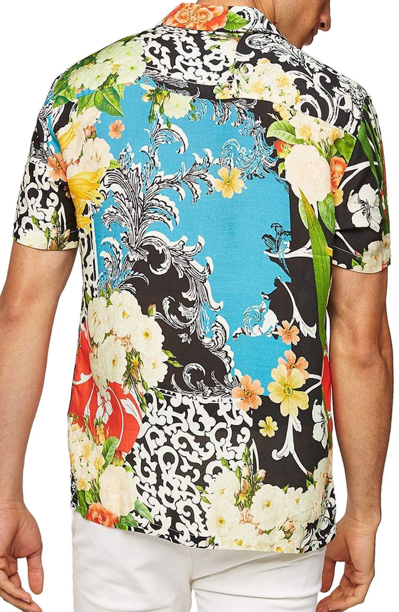 Floral Print Shirt,                             Alternate thumbnail 3, color,                             Black Multi