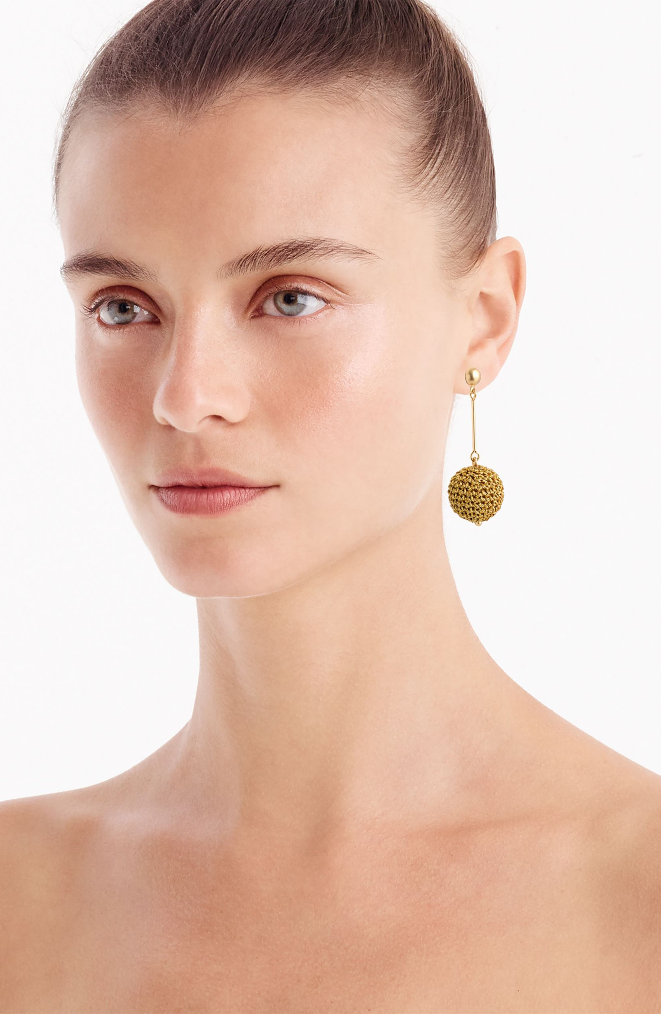 Crochet Ball Drop Earrings,                             Alternate thumbnail 3, color,                             Gold