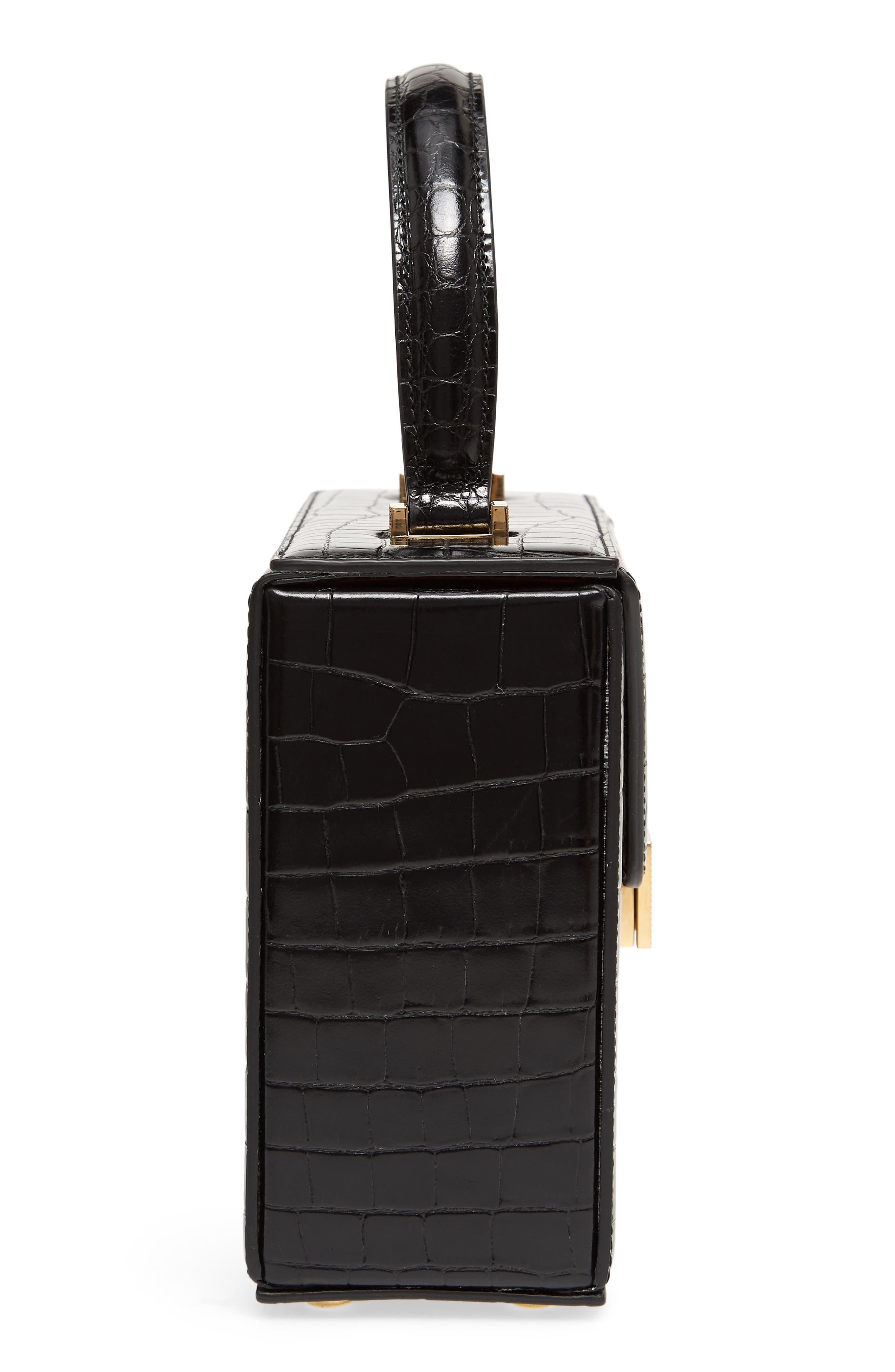 Mini Vanity Top Handle Box Bag,                             Alternate thumbnail 5, color,                             Black