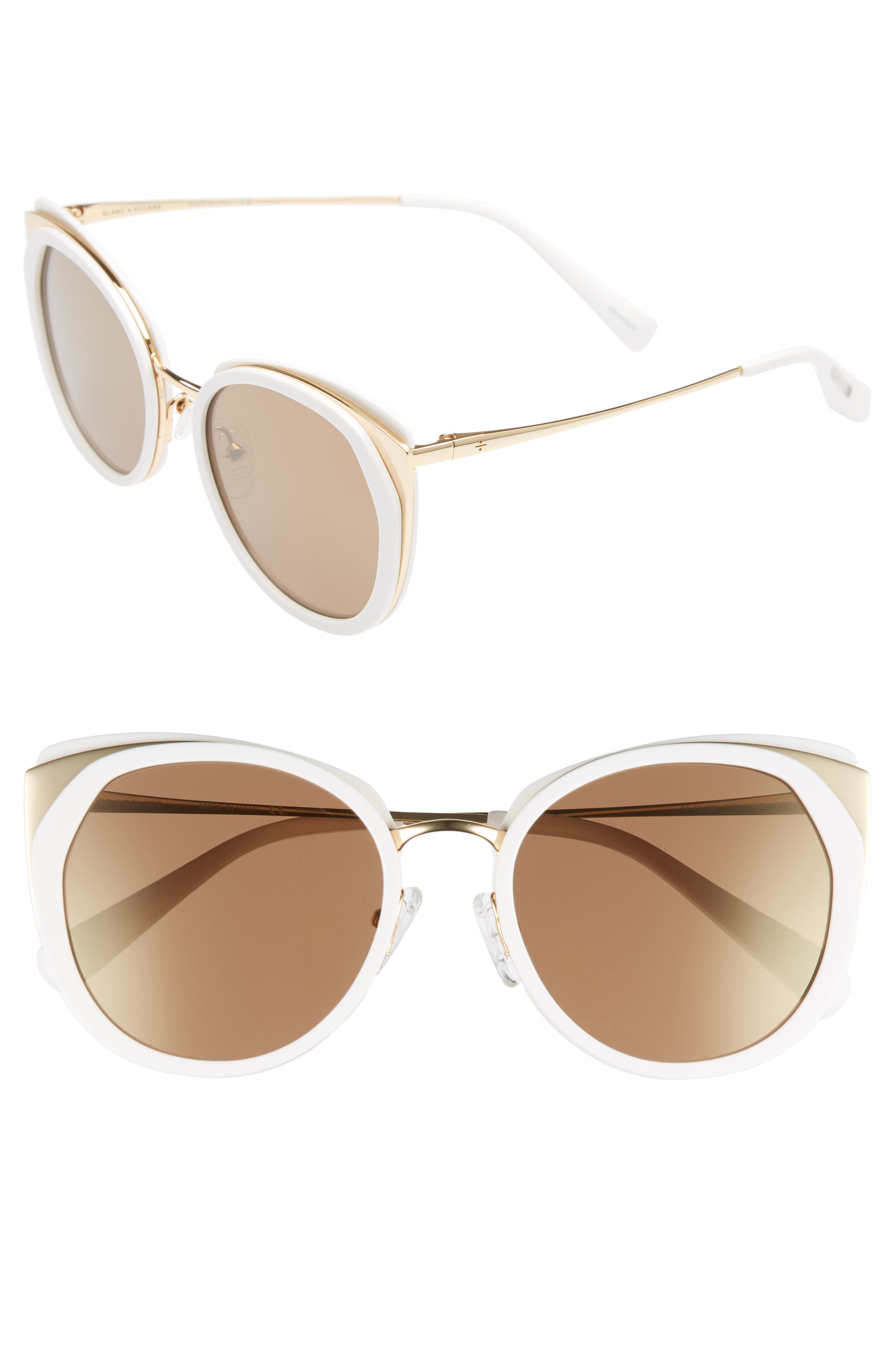 BLANC & ECLARE Istanbul 55mm Polarized Cat Eye Sunglasses,                             Main thumbnail 1, color,                             Snow/ Gold/ Solid Gold Mirror