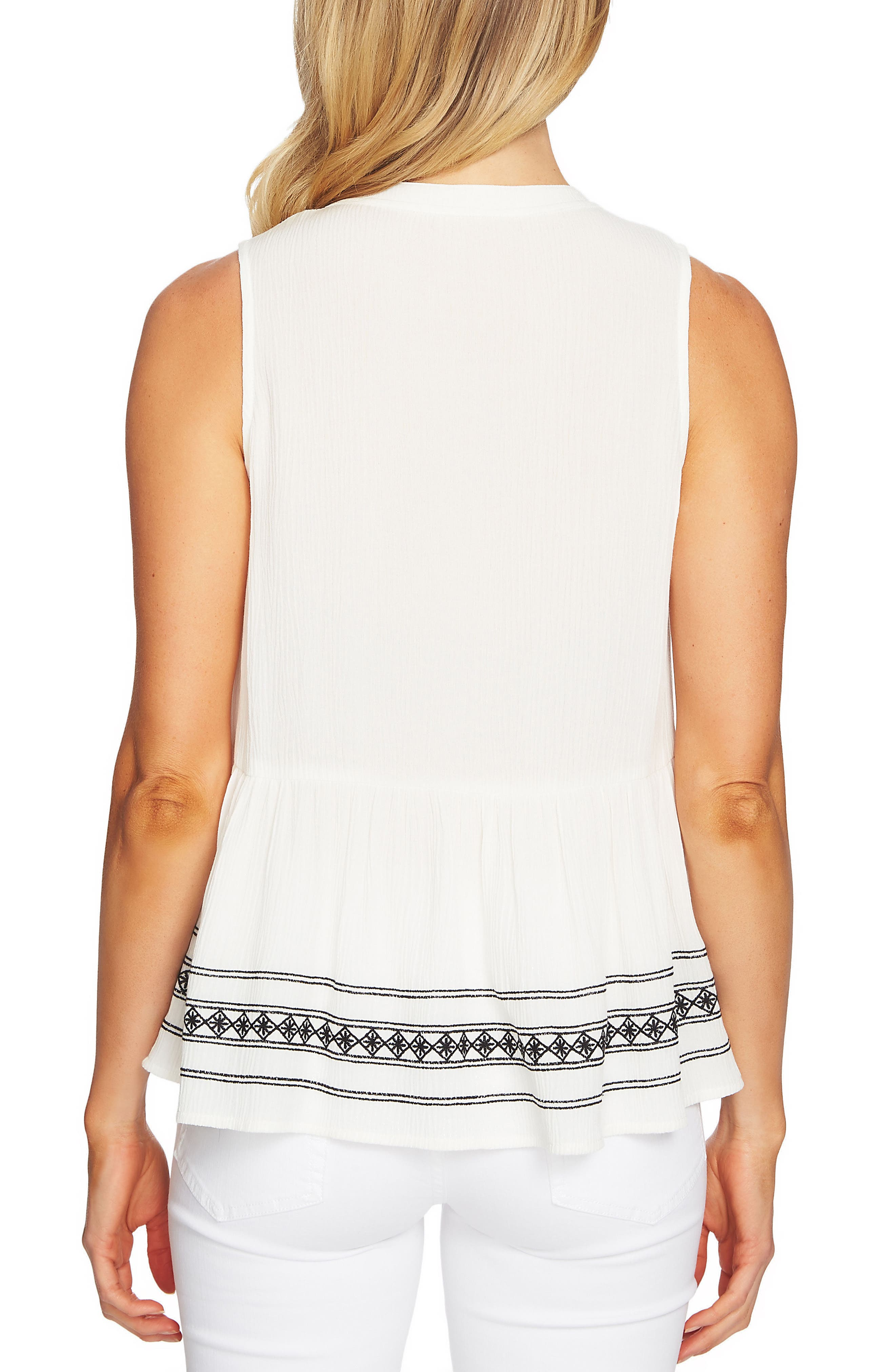 Sleeveless Embroidered Blouse,                             Alternate thumbnail 2, color,                             New Ivory