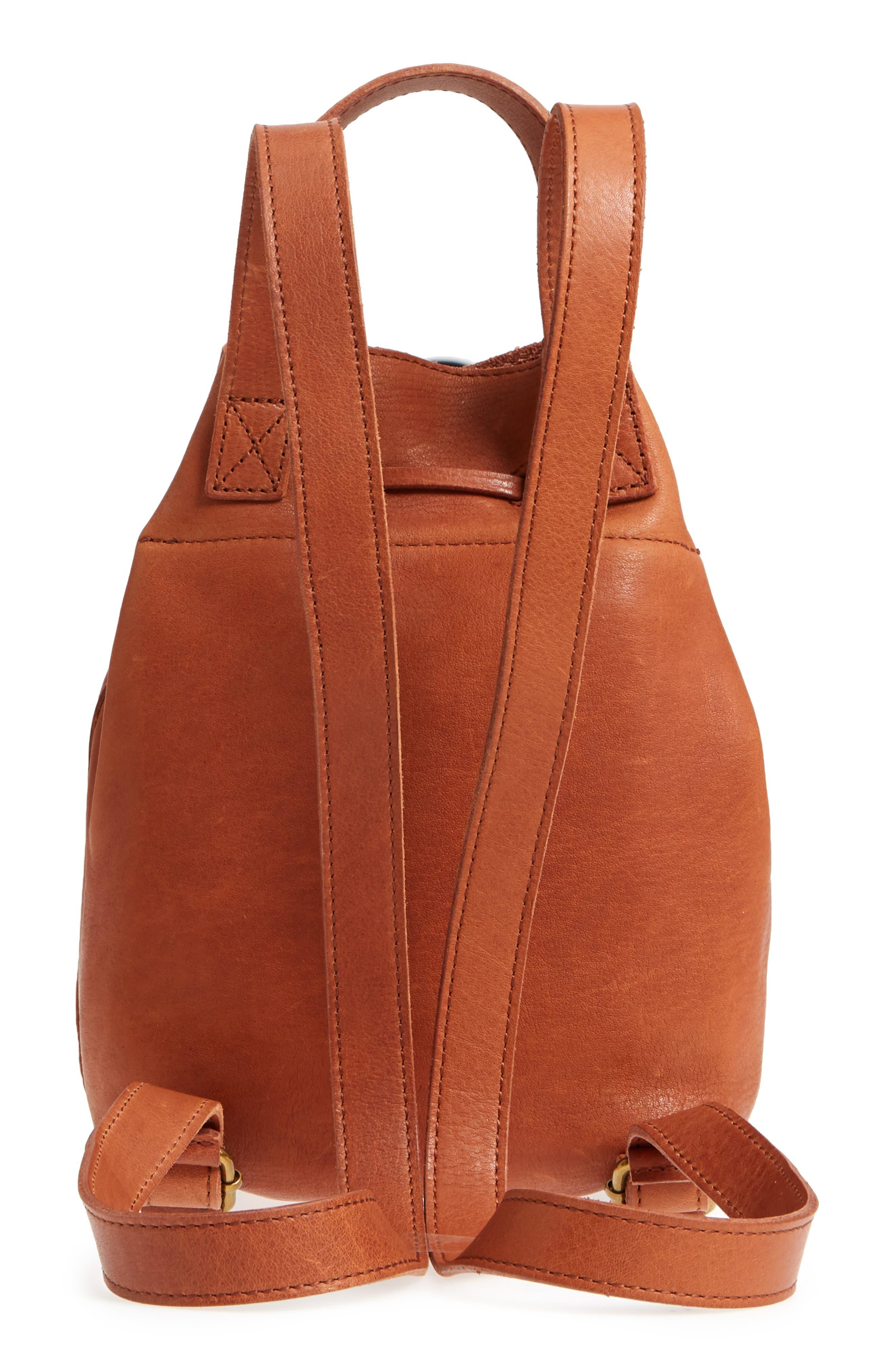 Mini Somerset Leather Backpack,                             Alternate thumbnail 3, color,                             English Saddle