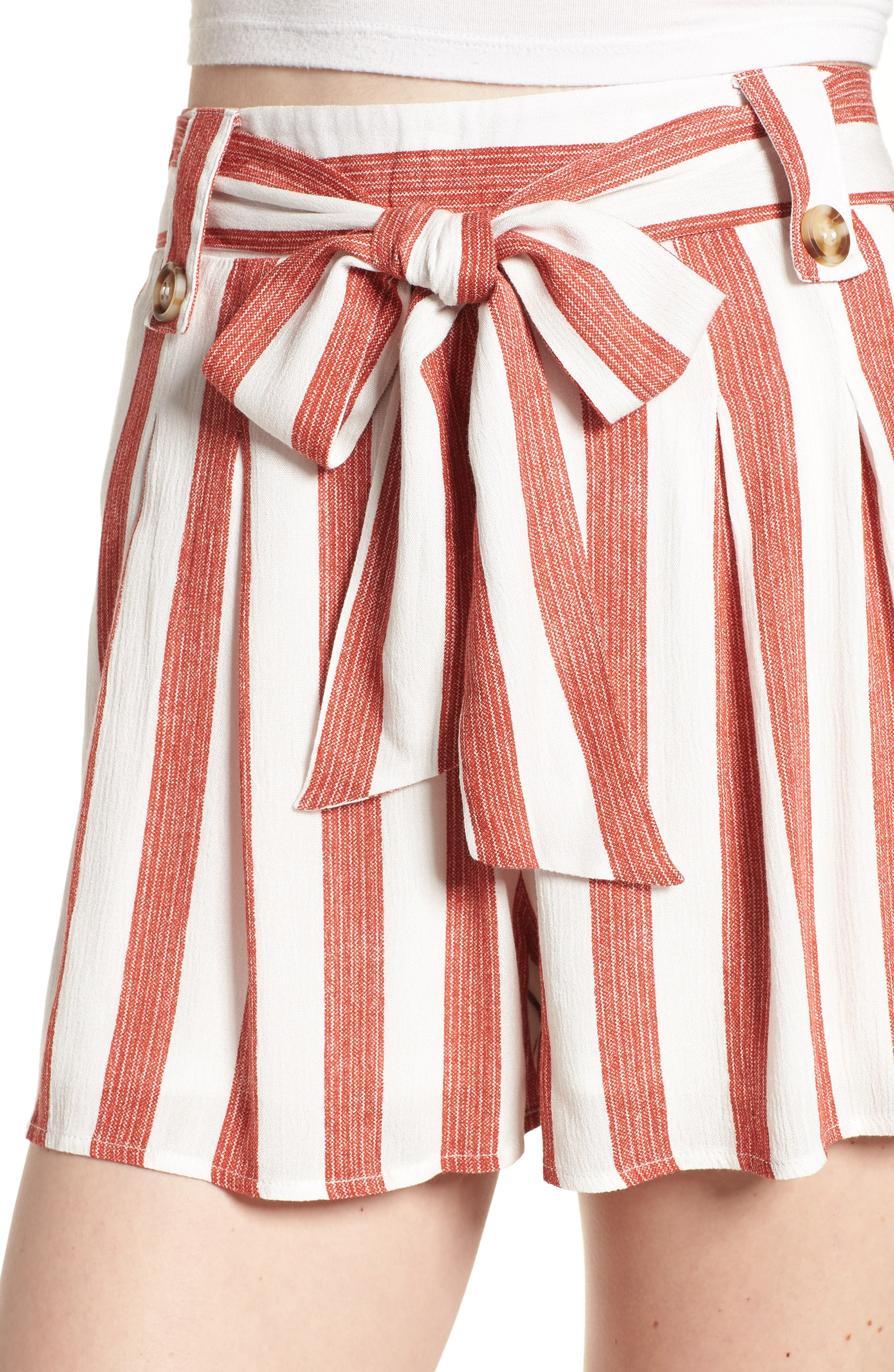 Stripe Shorts,                             Alternate thumbnail 5, color,                             Red/ Ivory