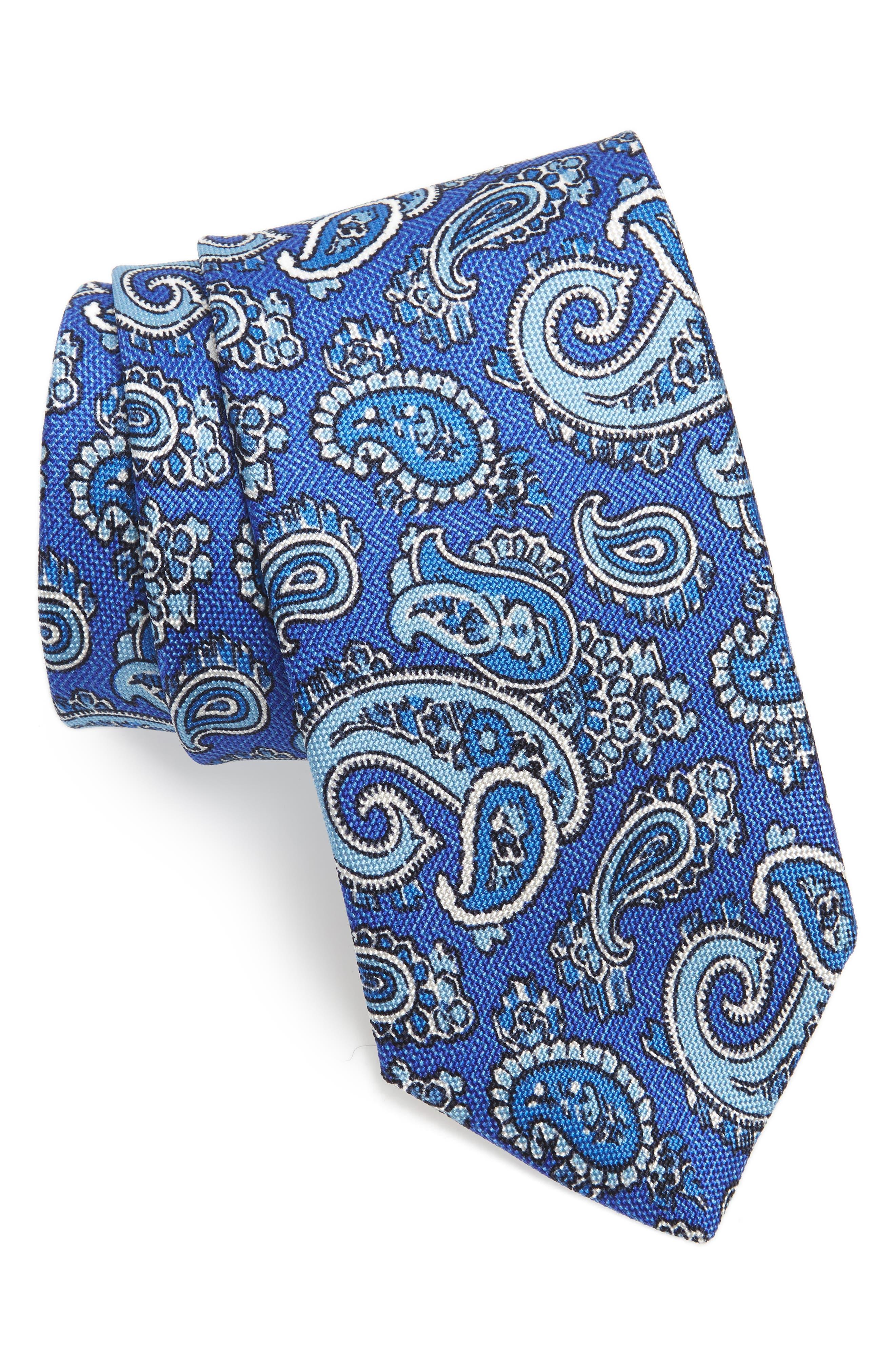 Paisley Silk Tie,                         Main,                         color, Blue