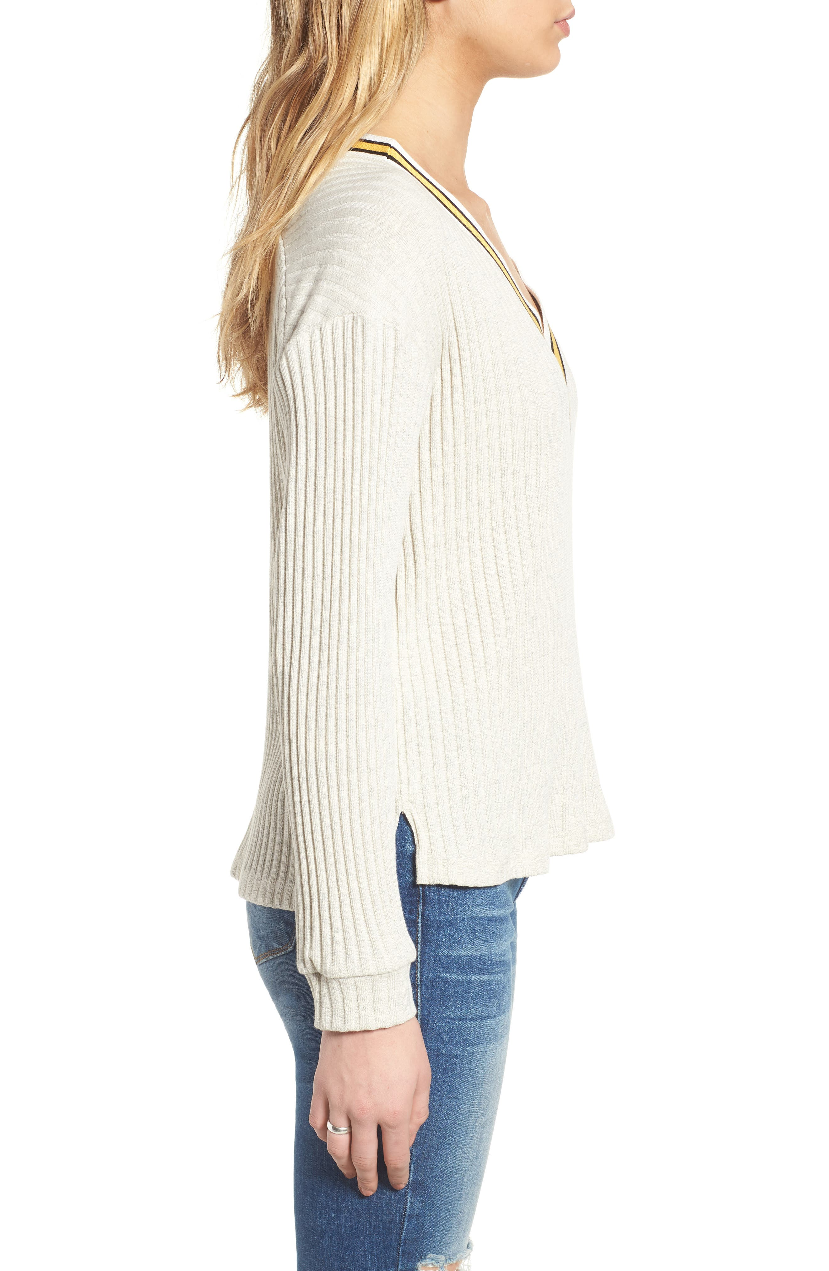 Varsity Stripe Ribbed Sweater,                             Alternate thumbnail 3, color,                             Oatmeal