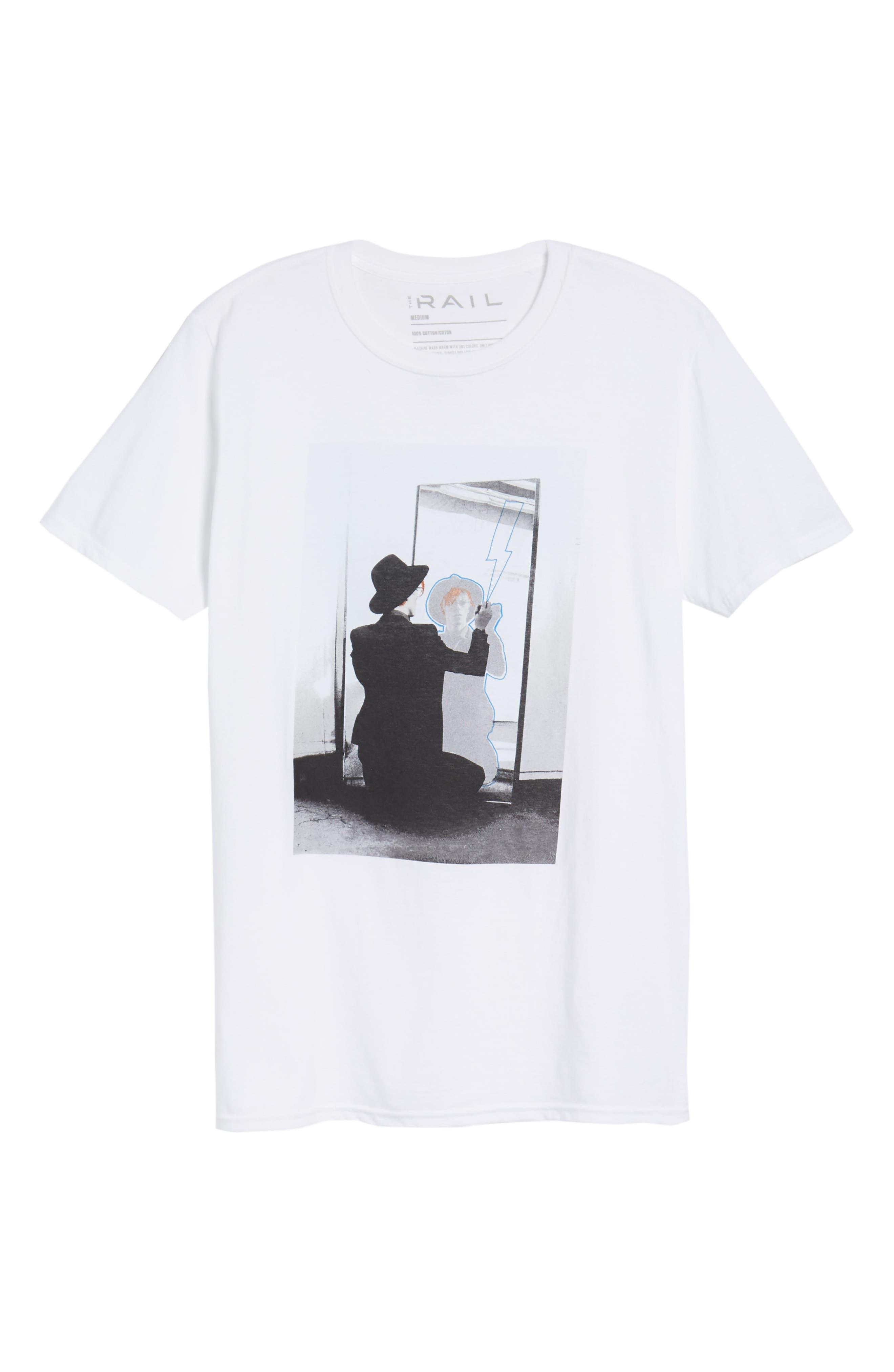 David Bowie Mirror T-Shirt,                             Alternate thumbnail 6, color,                             White Bowie Mirror