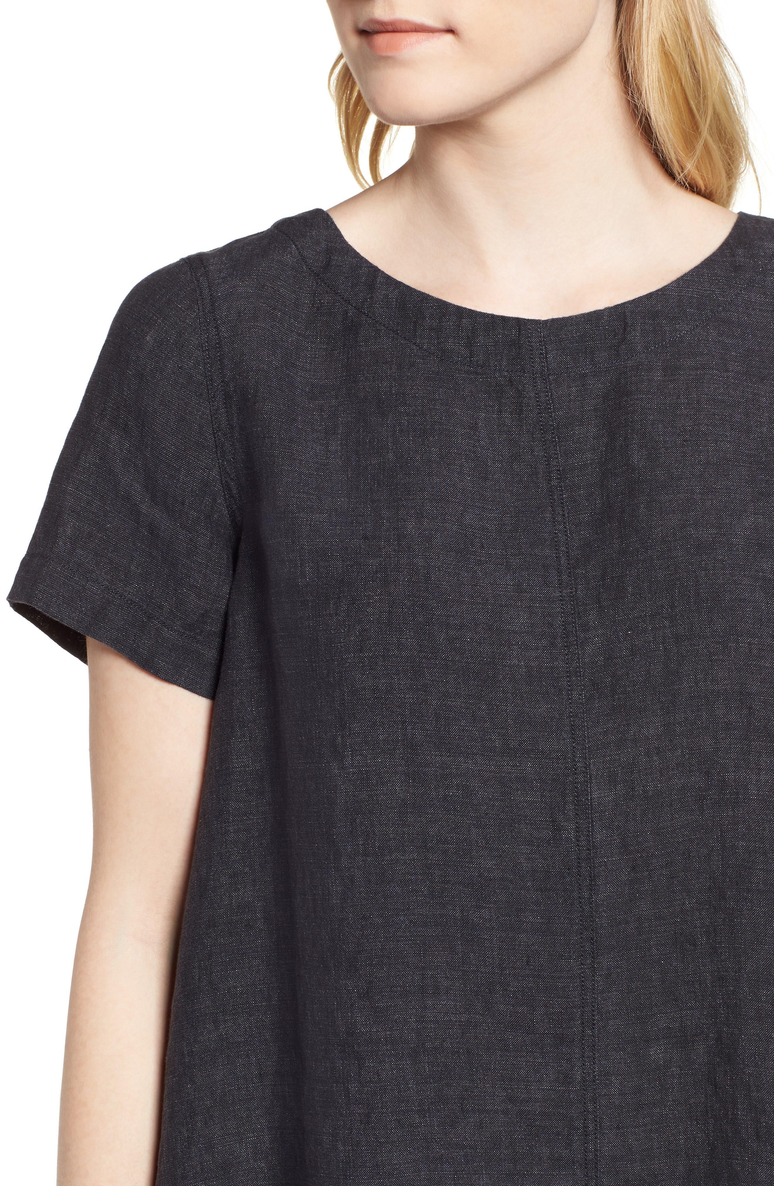Short Sleeve Organic Linen Flutter Top,                             Alternate thumbnail 4, color,                             Denim