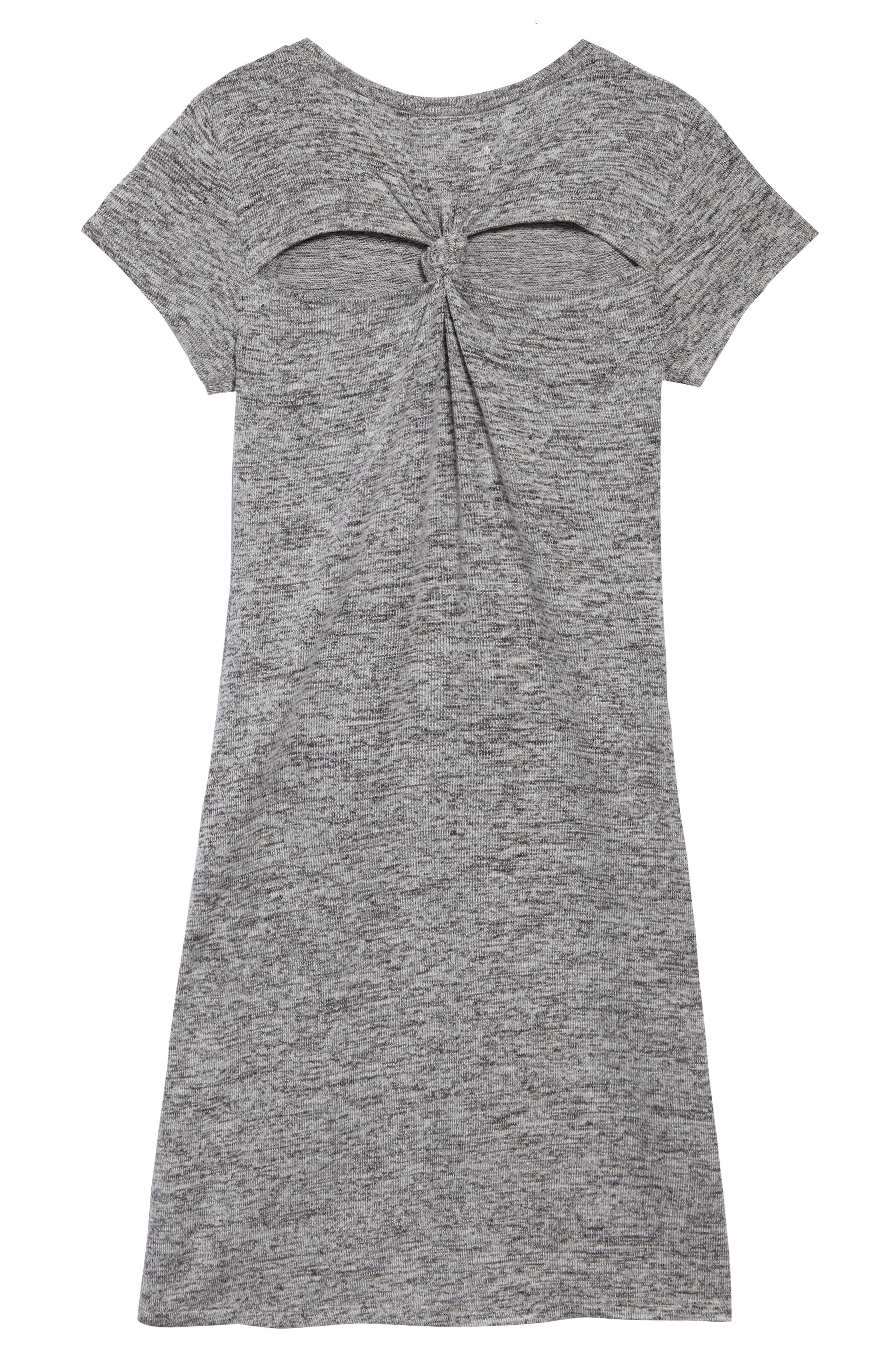 Knot Back Knit Dress,                             Alternate thumbnail 2, color,                             Grey Medium Heather