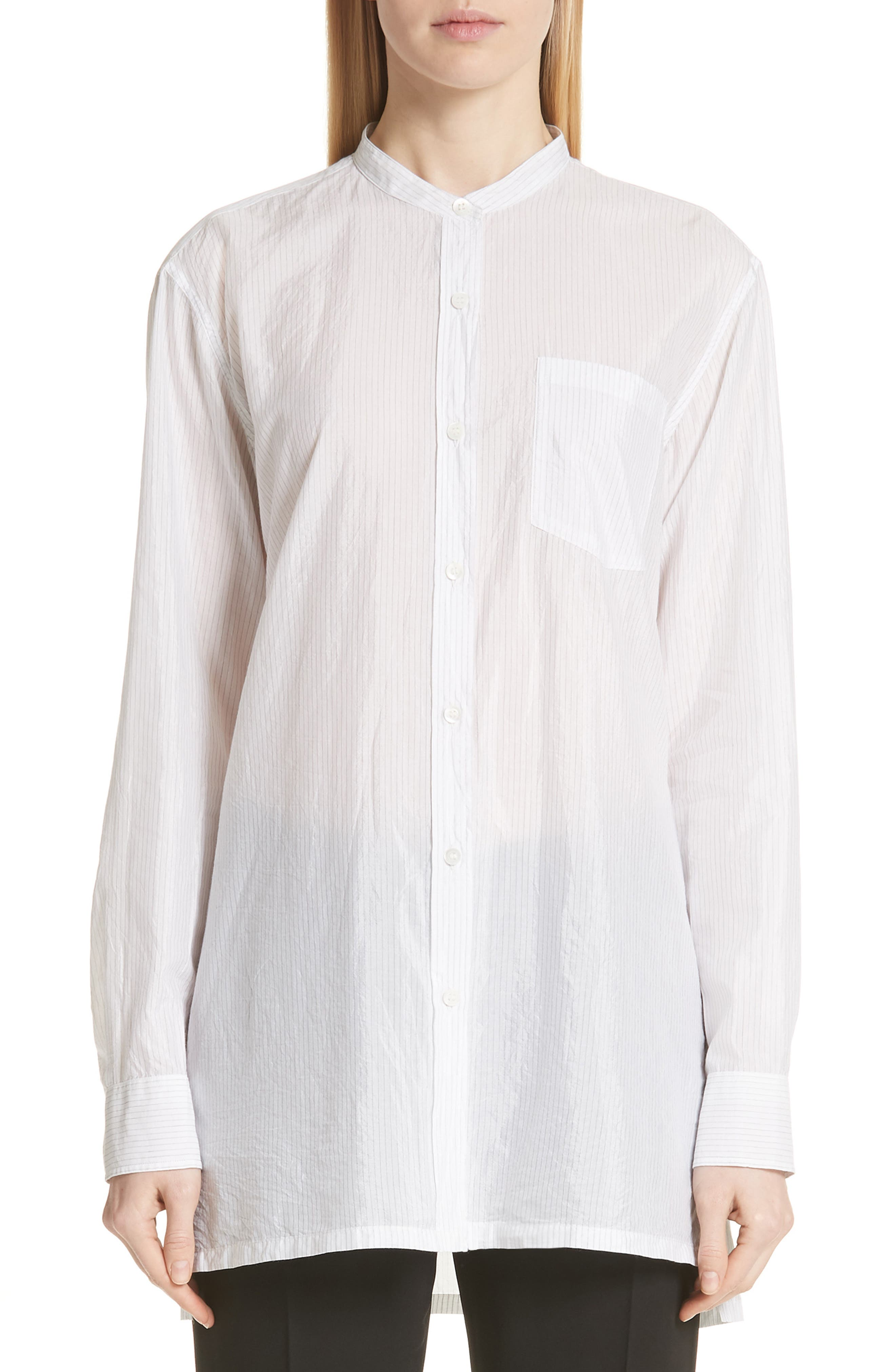 Cotton & Silk Stripe Shirt,                         Main,                         color, Ecru