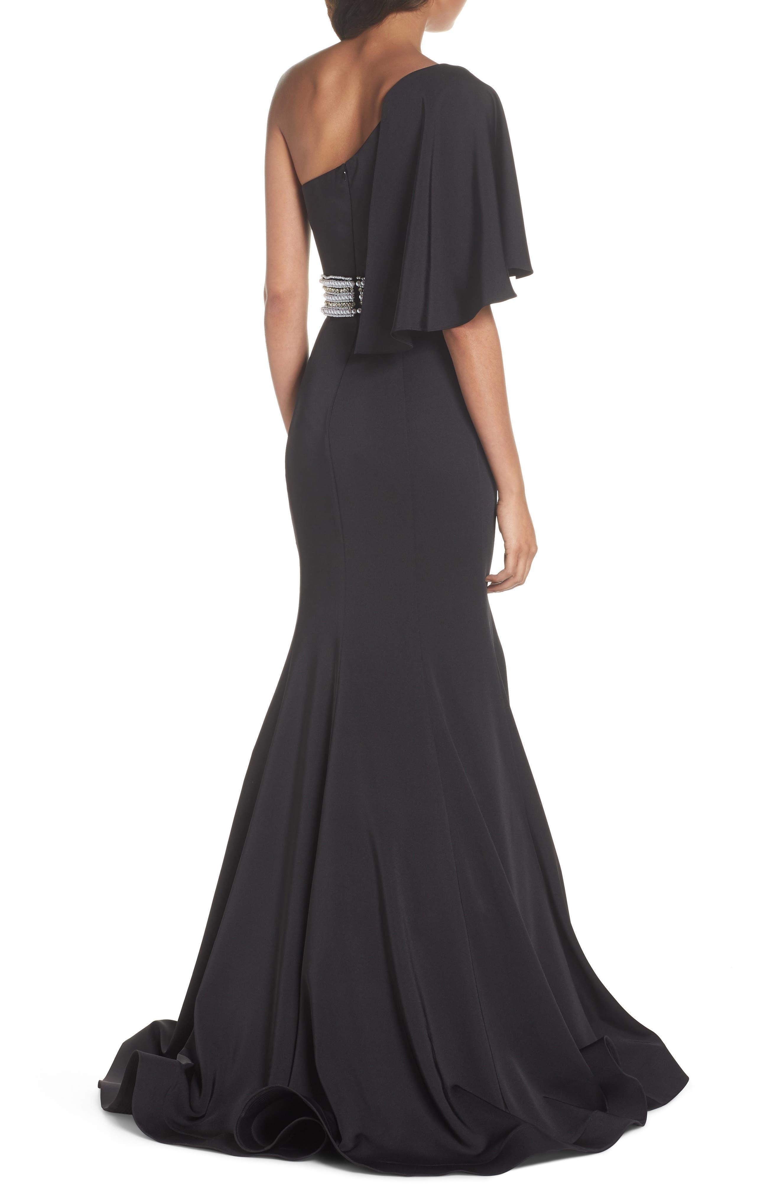 One-Shoulder Gown,                             Alternate thumbnail 2, color,                             Black