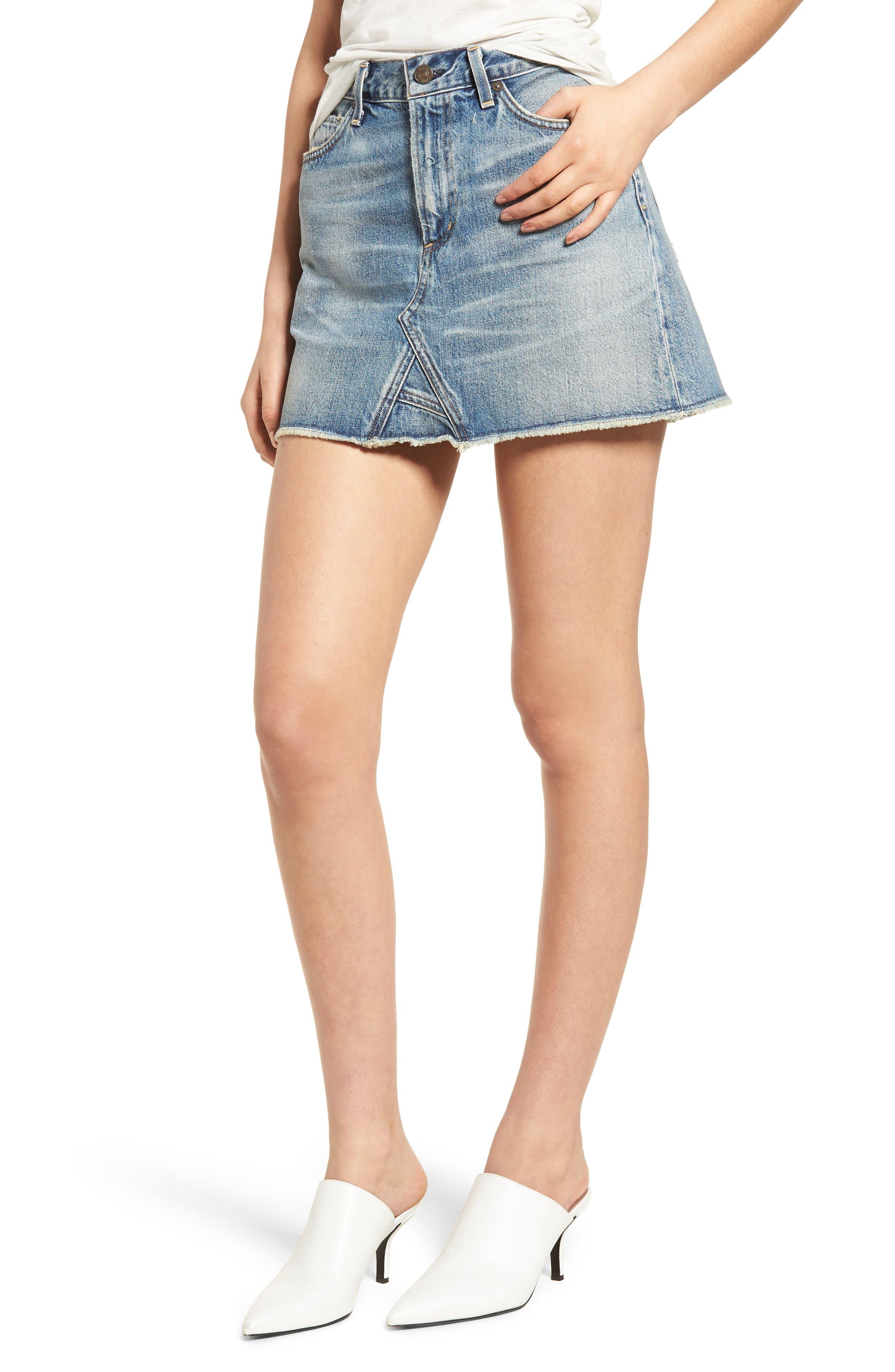Cutoff Denim Miniskirt,                             Main thumbnail 1, color,                             Freebird